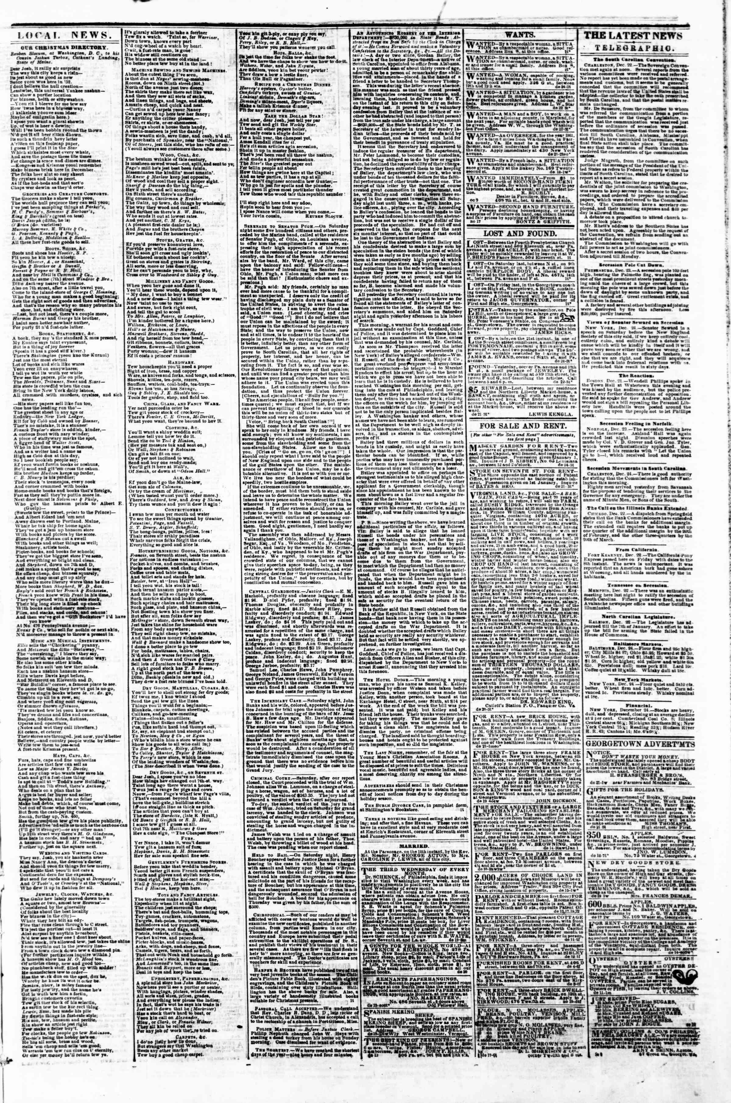 24 Aralık 1860 tarihli Evening Star Gazetesi Sayfa 3