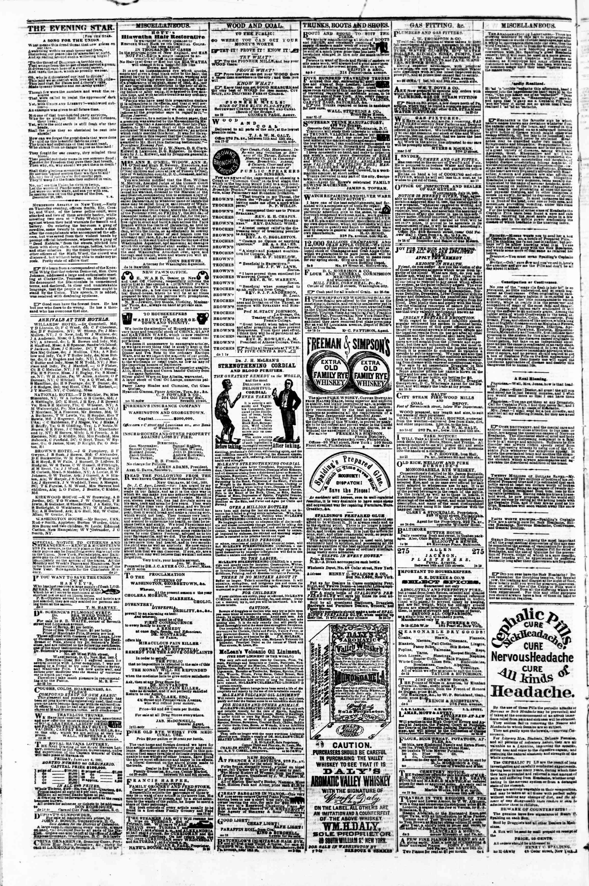 Newspaper of Evening Star dated December 24, 1860 Page 4