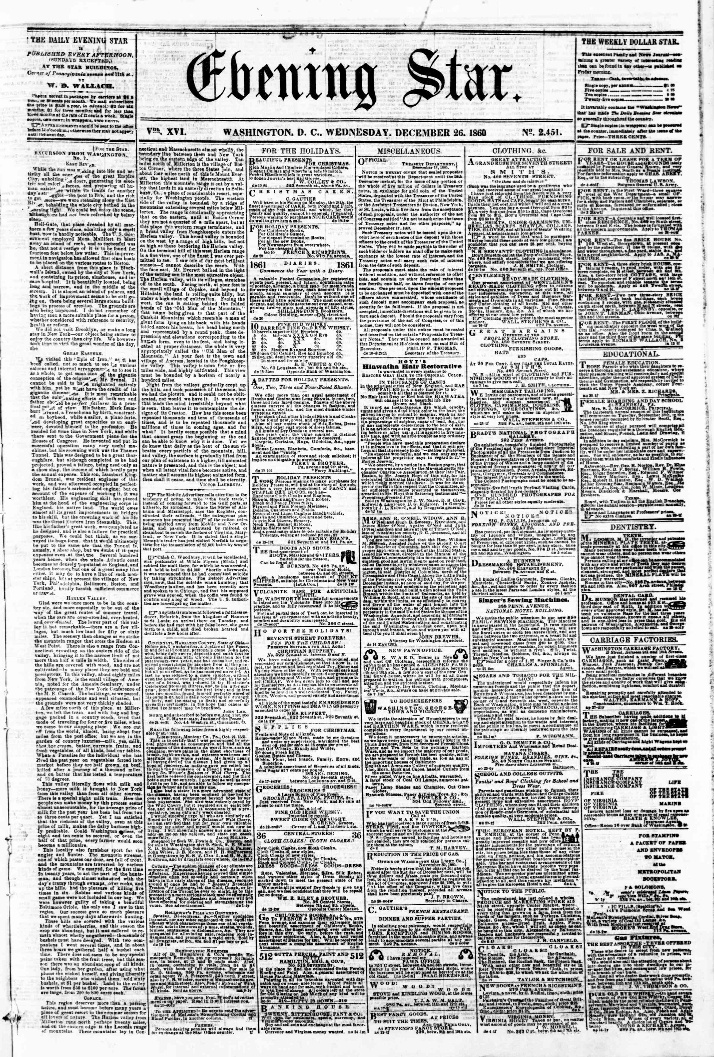 Newspaper of Evening Star dated December 26, 1860 Page 1