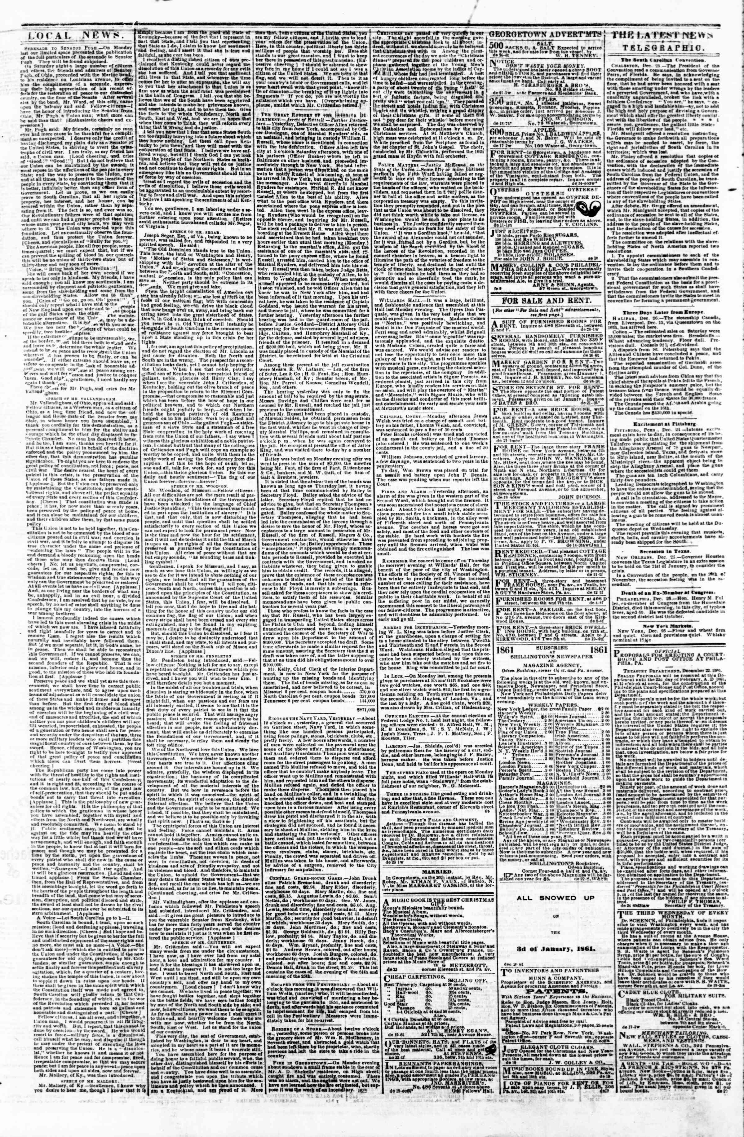 Newspaper of Evening Star dated December 26, 1860 Page 3