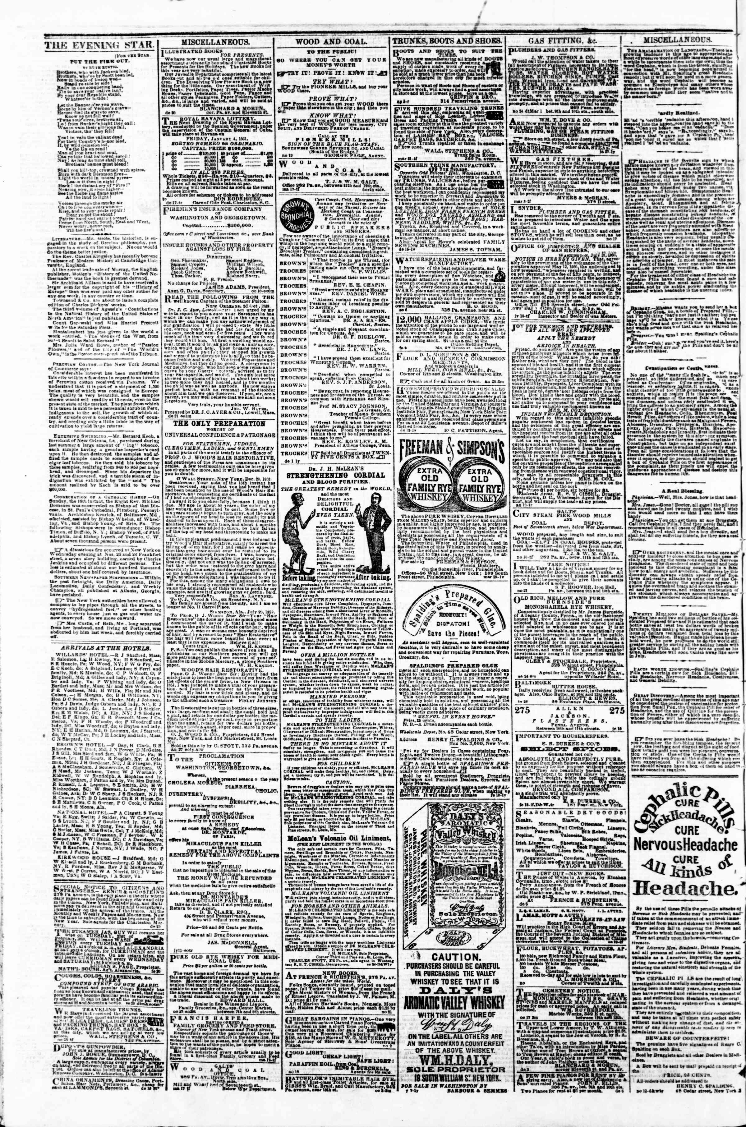 Newspaper of Evening Star dated December 26, 1860 Page 4