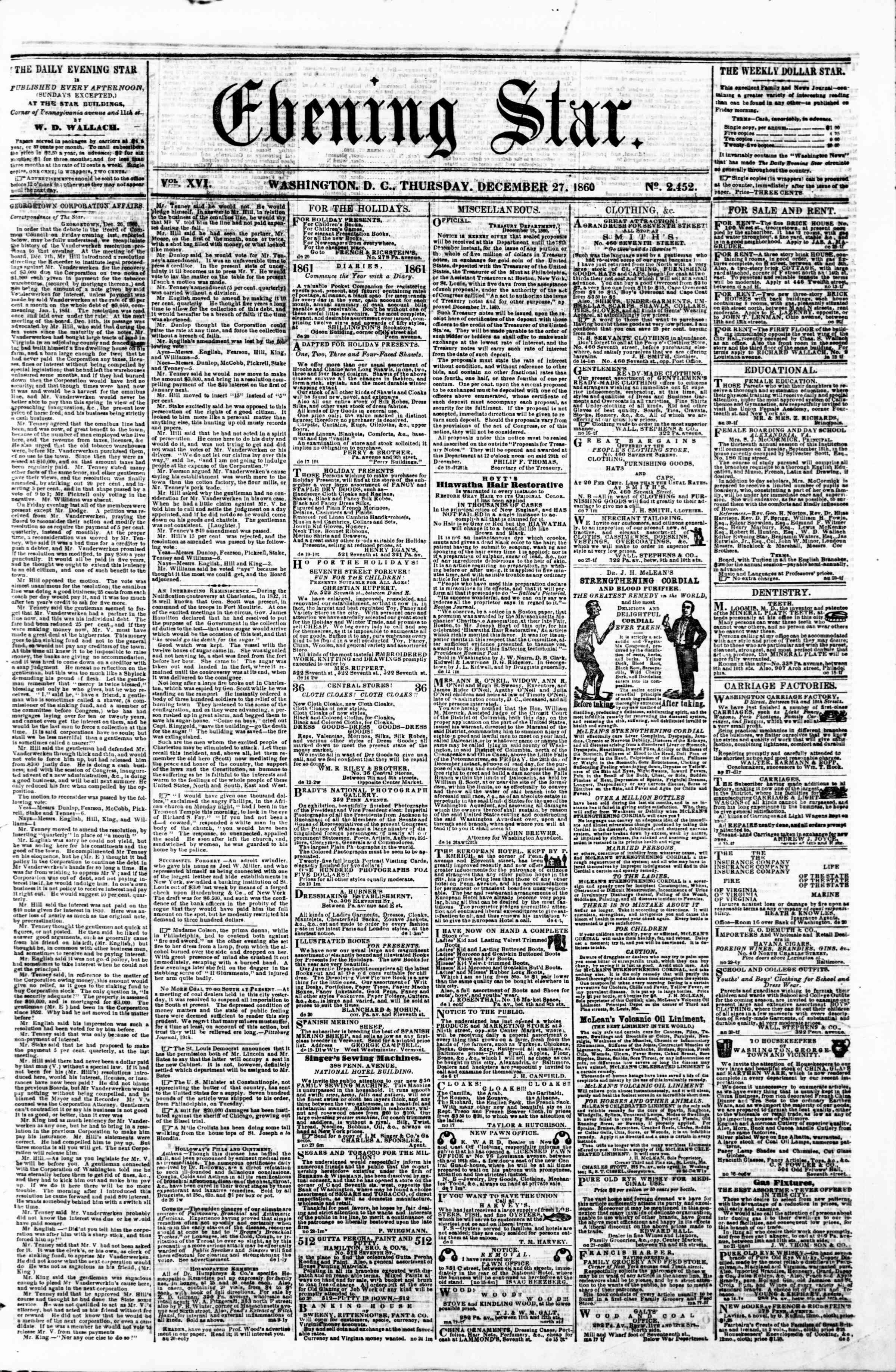 Newspaper of Evening Star dated 27 Aralık 1860 Page 1