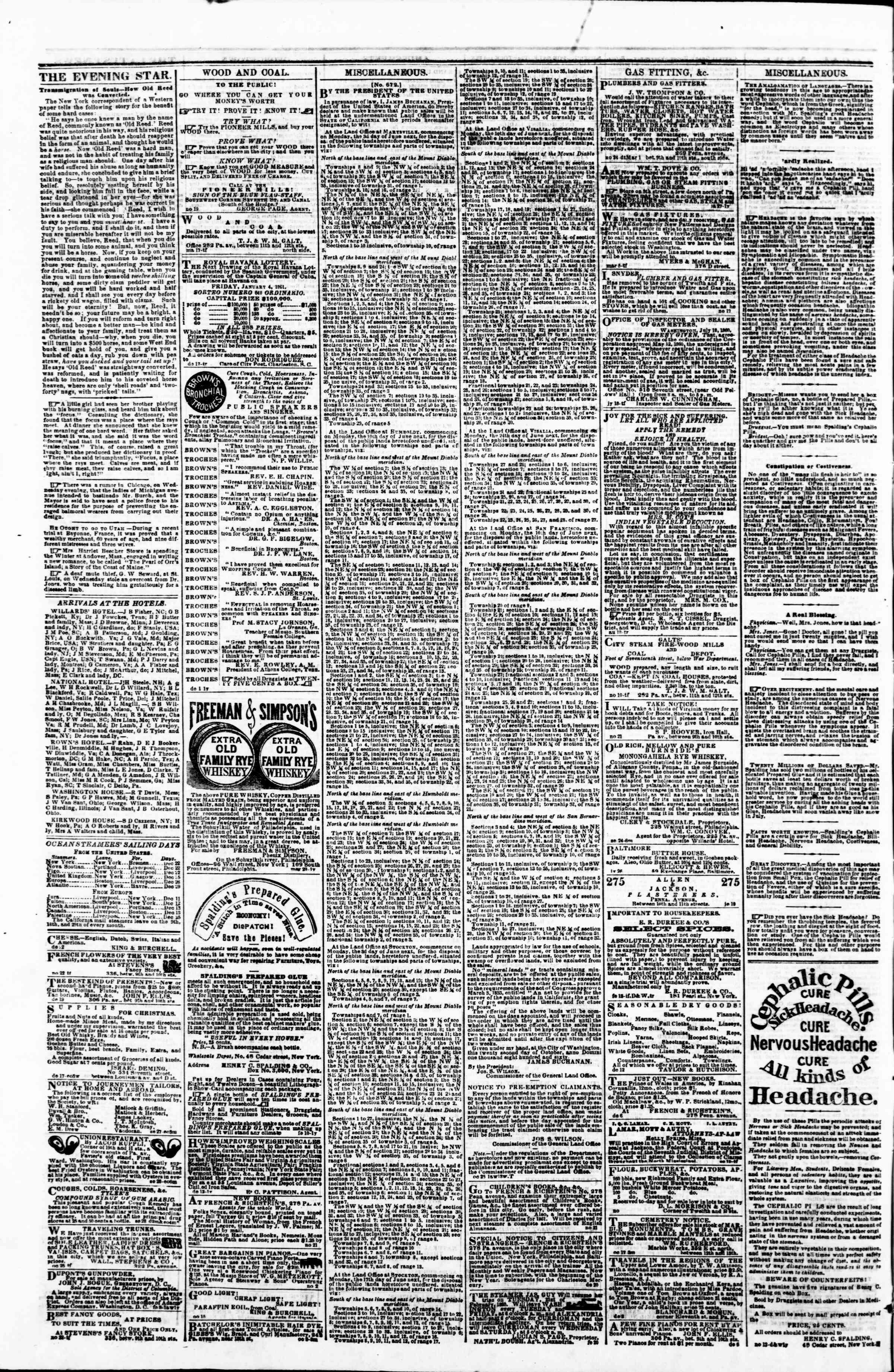 Newspaper of Evening Star dated 27 Aralık 1860 Page 4