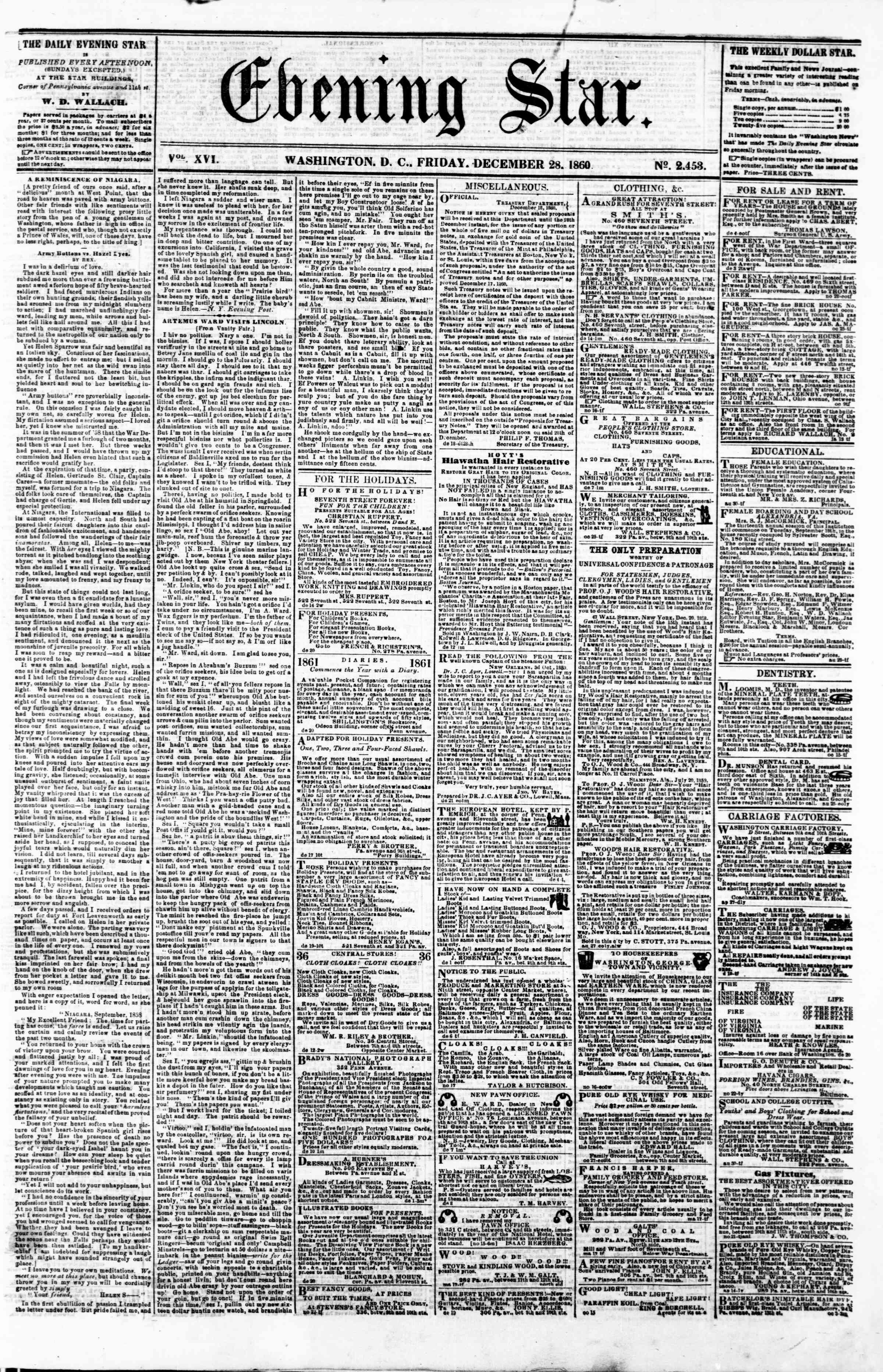 Newspaper of Evening Star dated December 28, 1860 Page 1