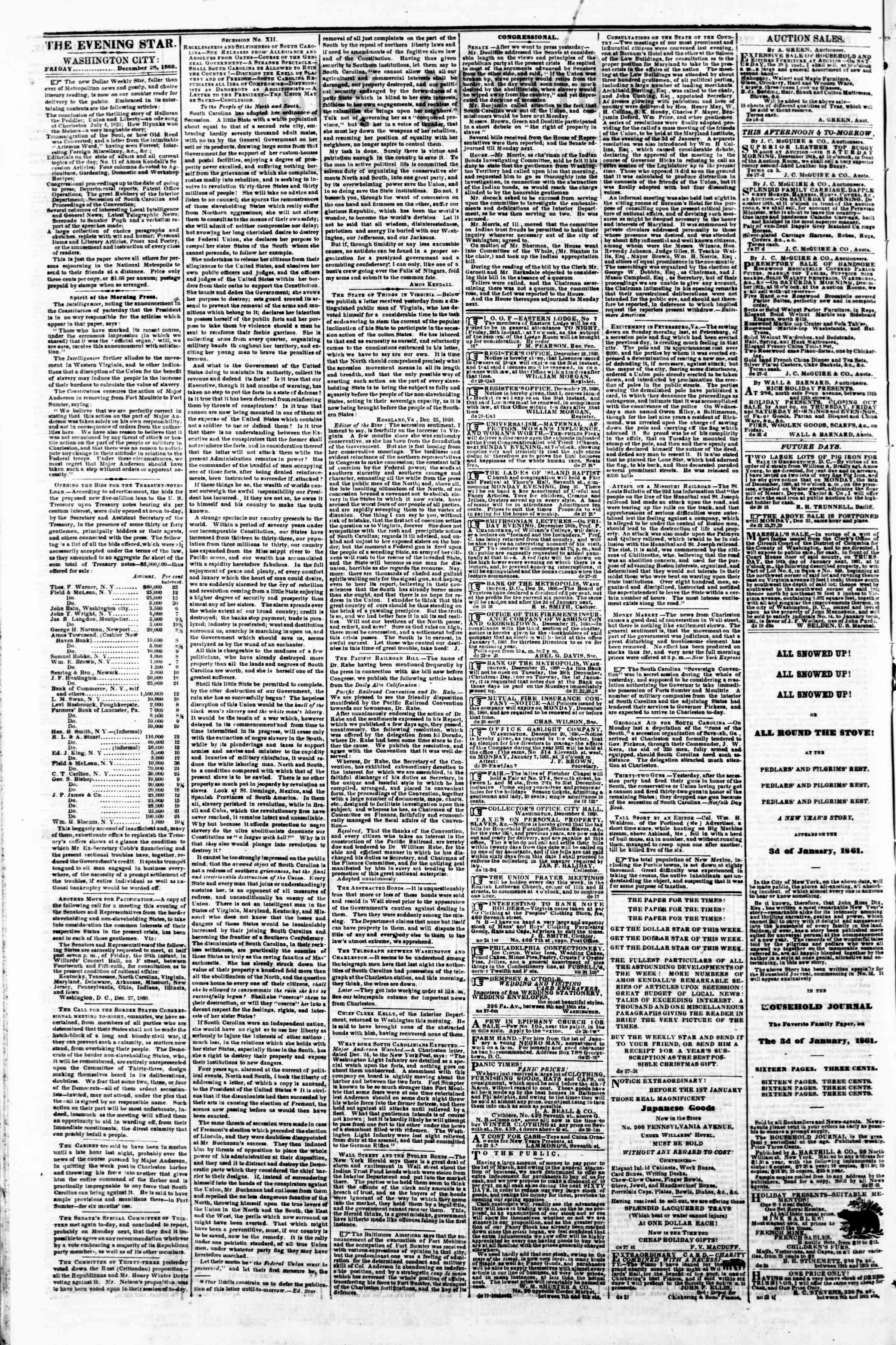 Newspaper of Evening Star dated December 28, 1860 Page 2