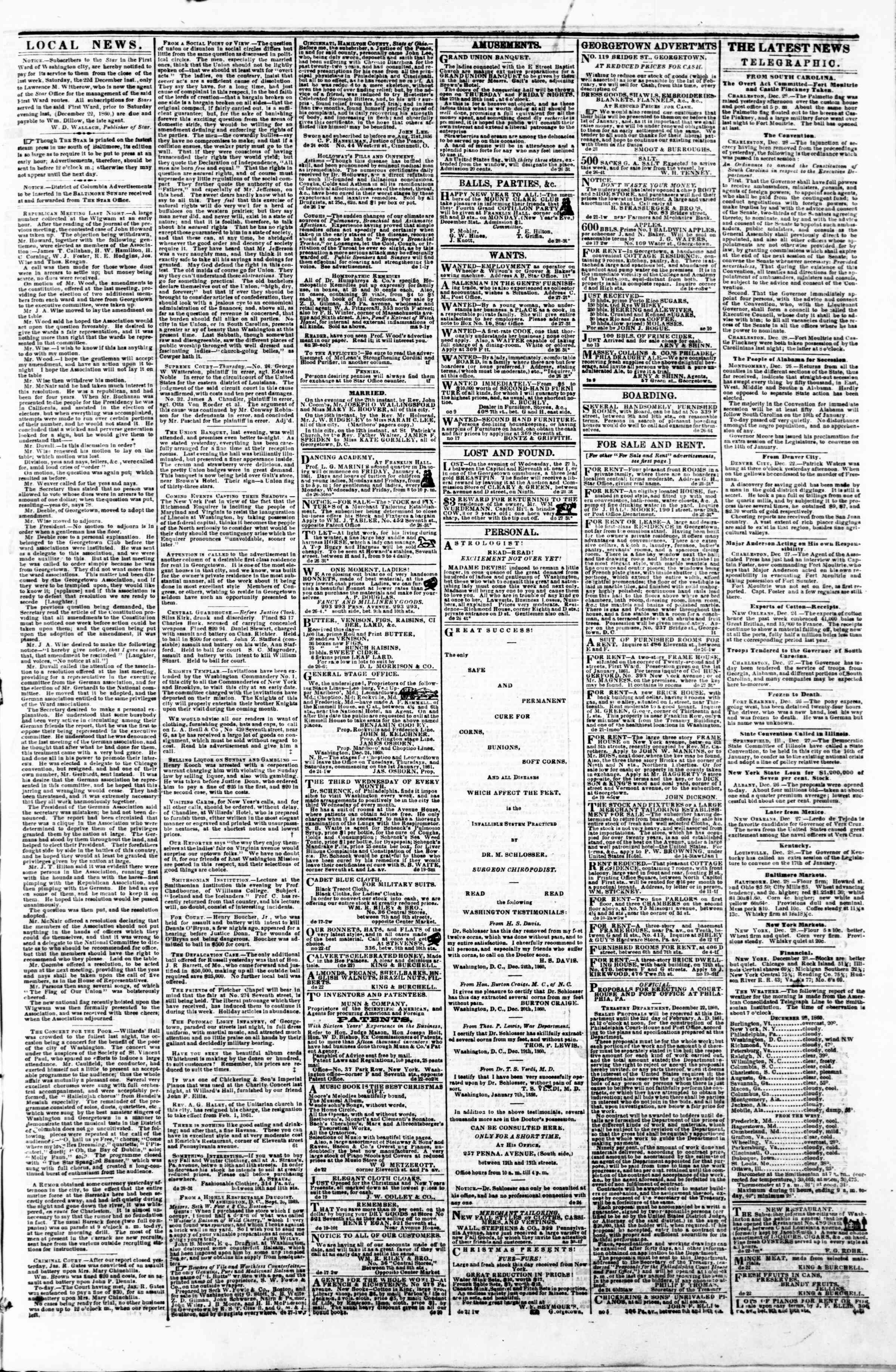 Newspaper of Evening Star dated December 28, 1860 Page 3