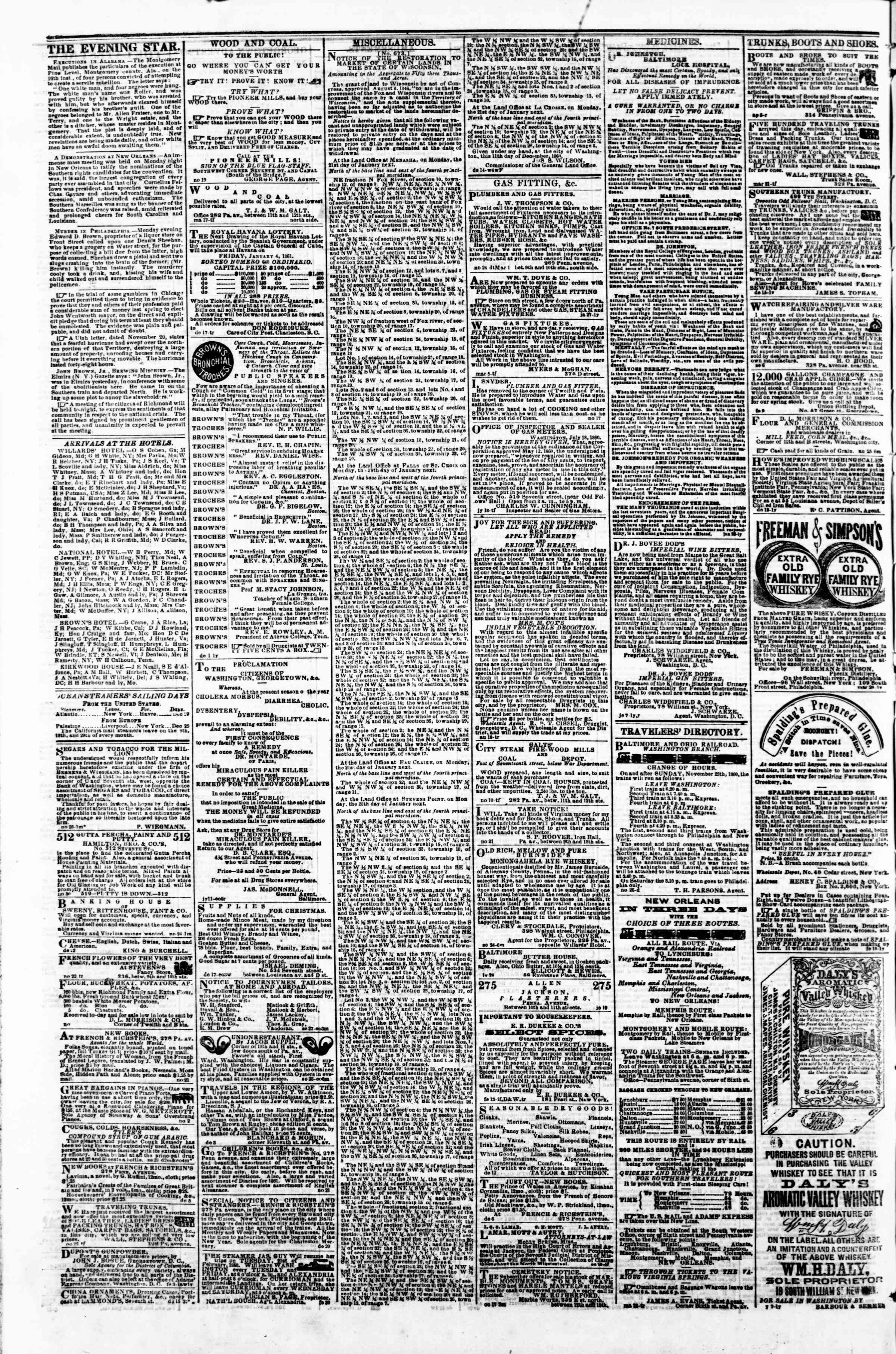 Newspaper of Evening Star dated December 28, 1860 Page 4