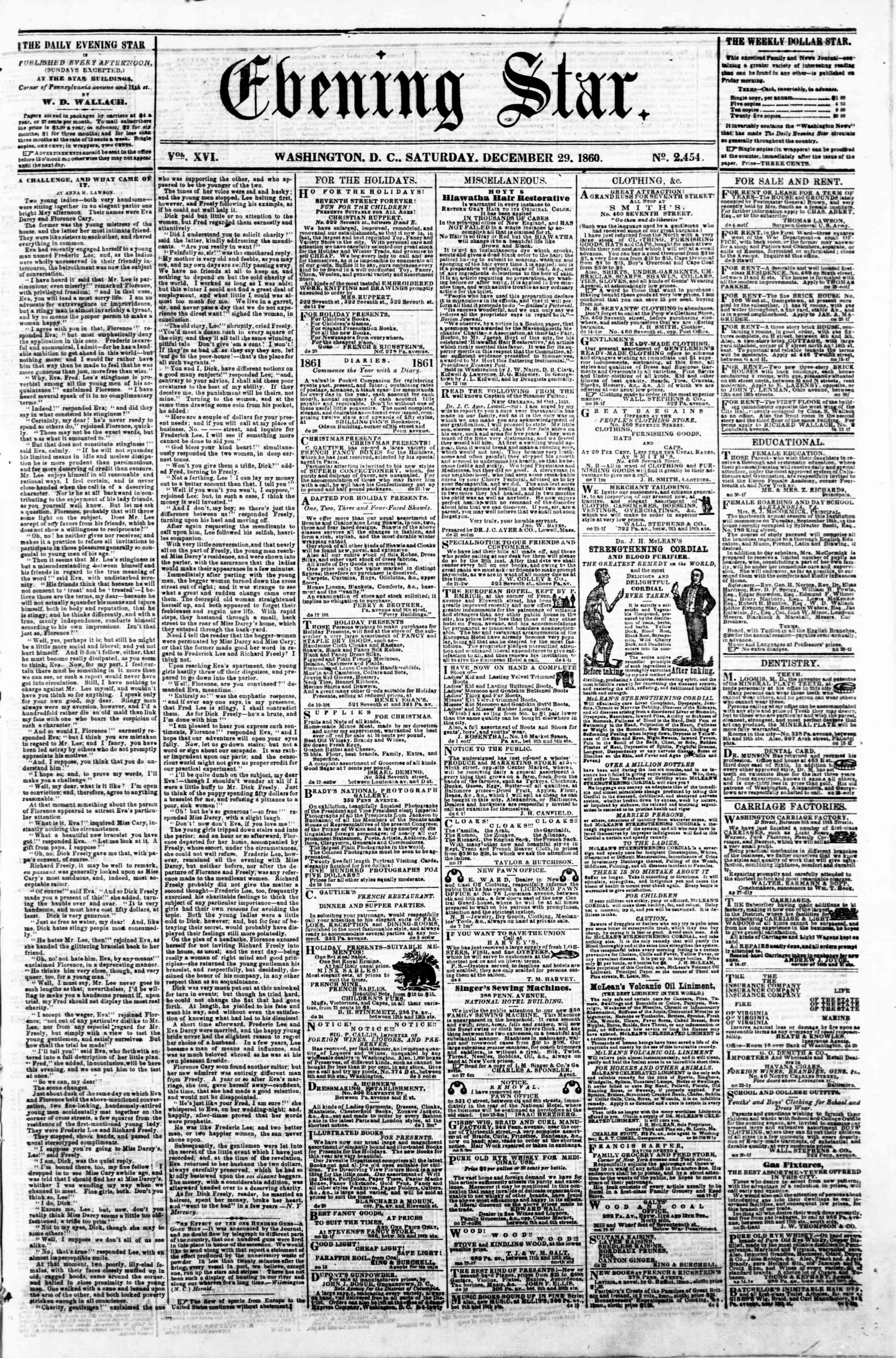 Newspaper of Evening Star dated December 29, 1860 Page 1