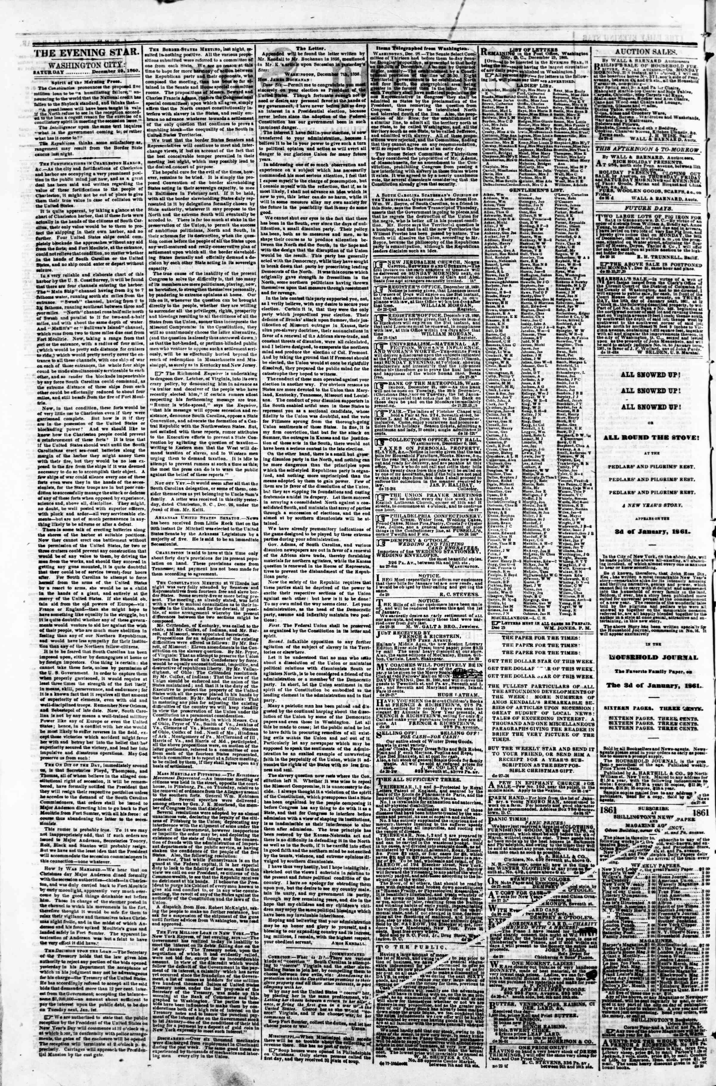 Newspaper of Evening Star dated December 29, 1860 Page 2