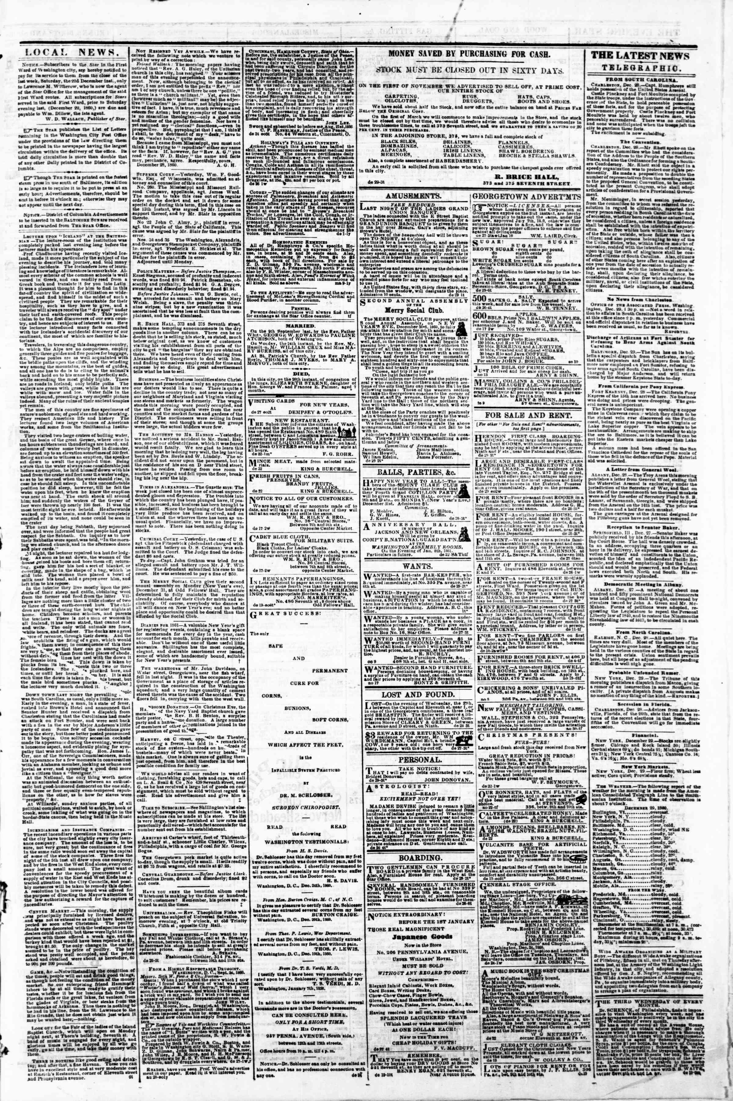Newspaper of Evening Star dated December 29, 1860 Page 3
