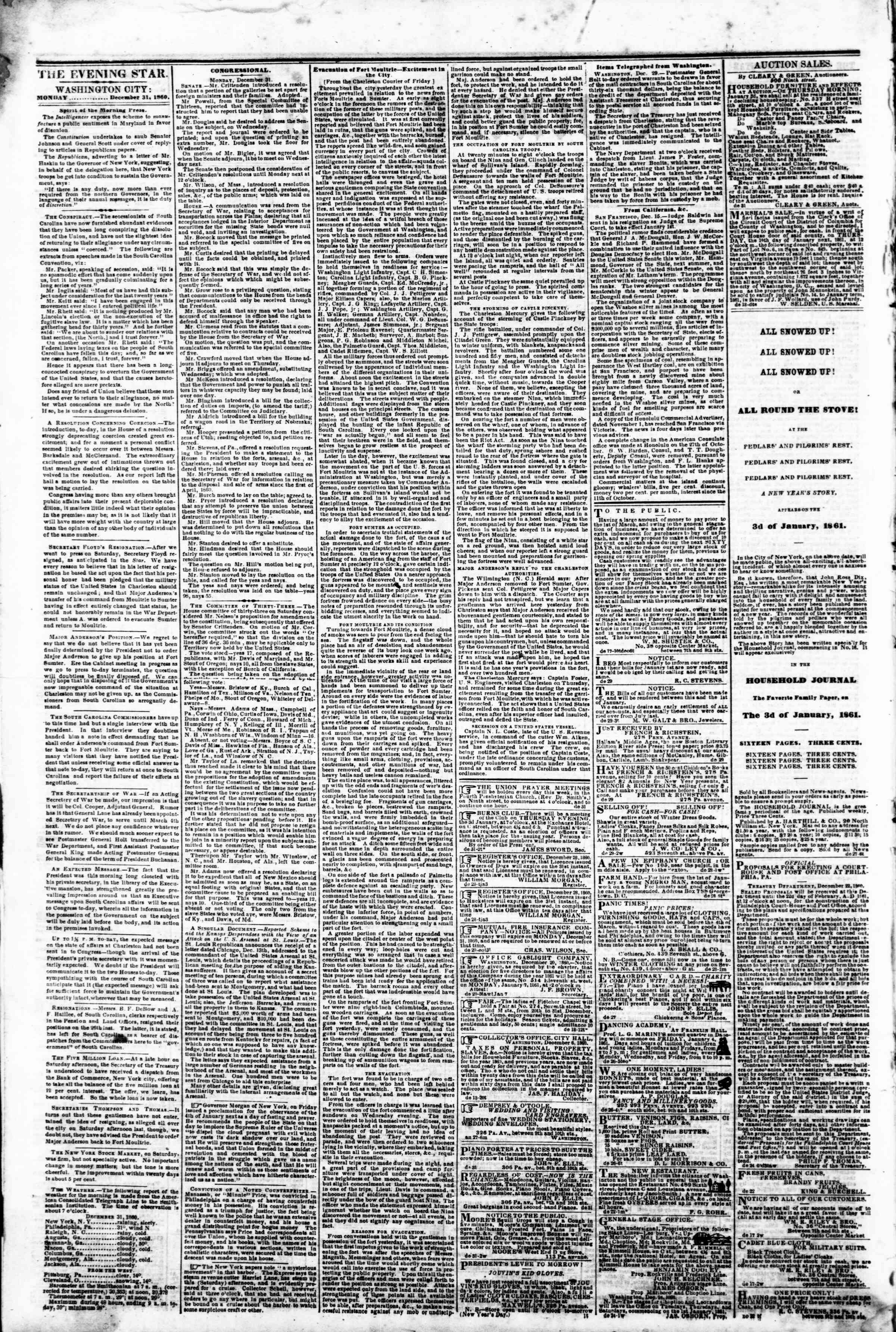 Newspaper of Evening Star dated December 31, 1860 Page 2