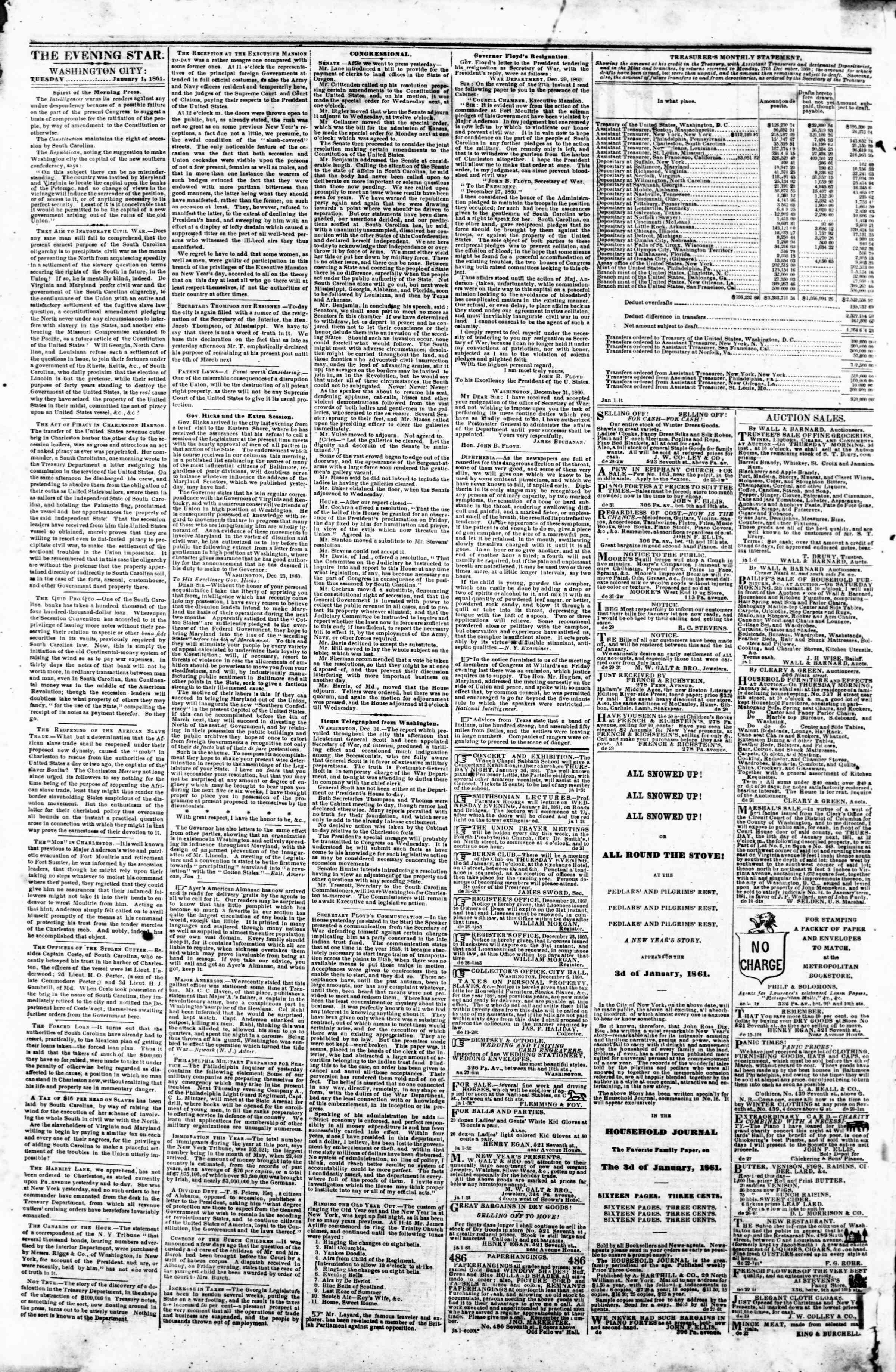 Newspaper of Evening Star dated January 1, 1861 Page 2
