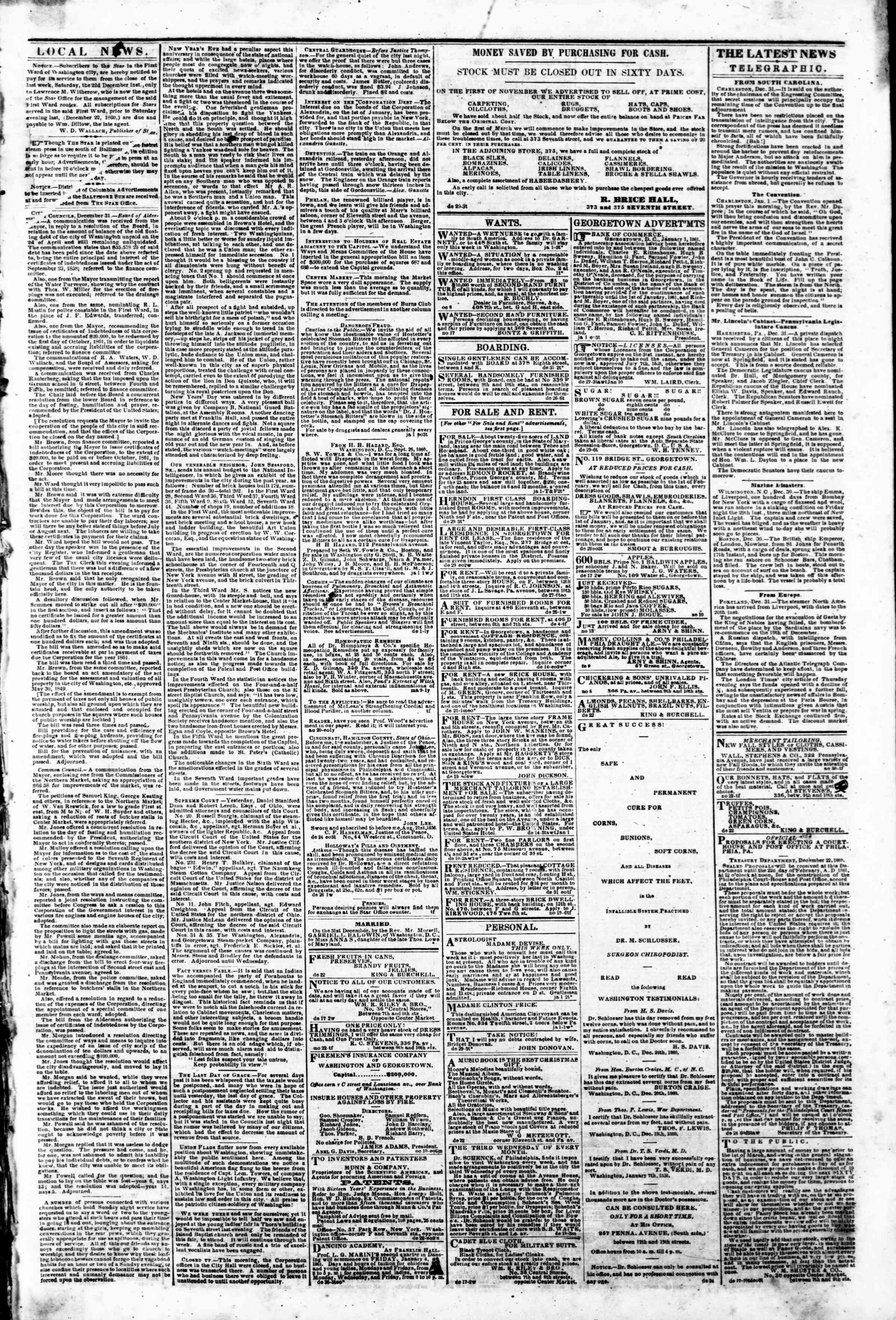 Newspaper of Evening Star dated January 1, 1861 Page 3