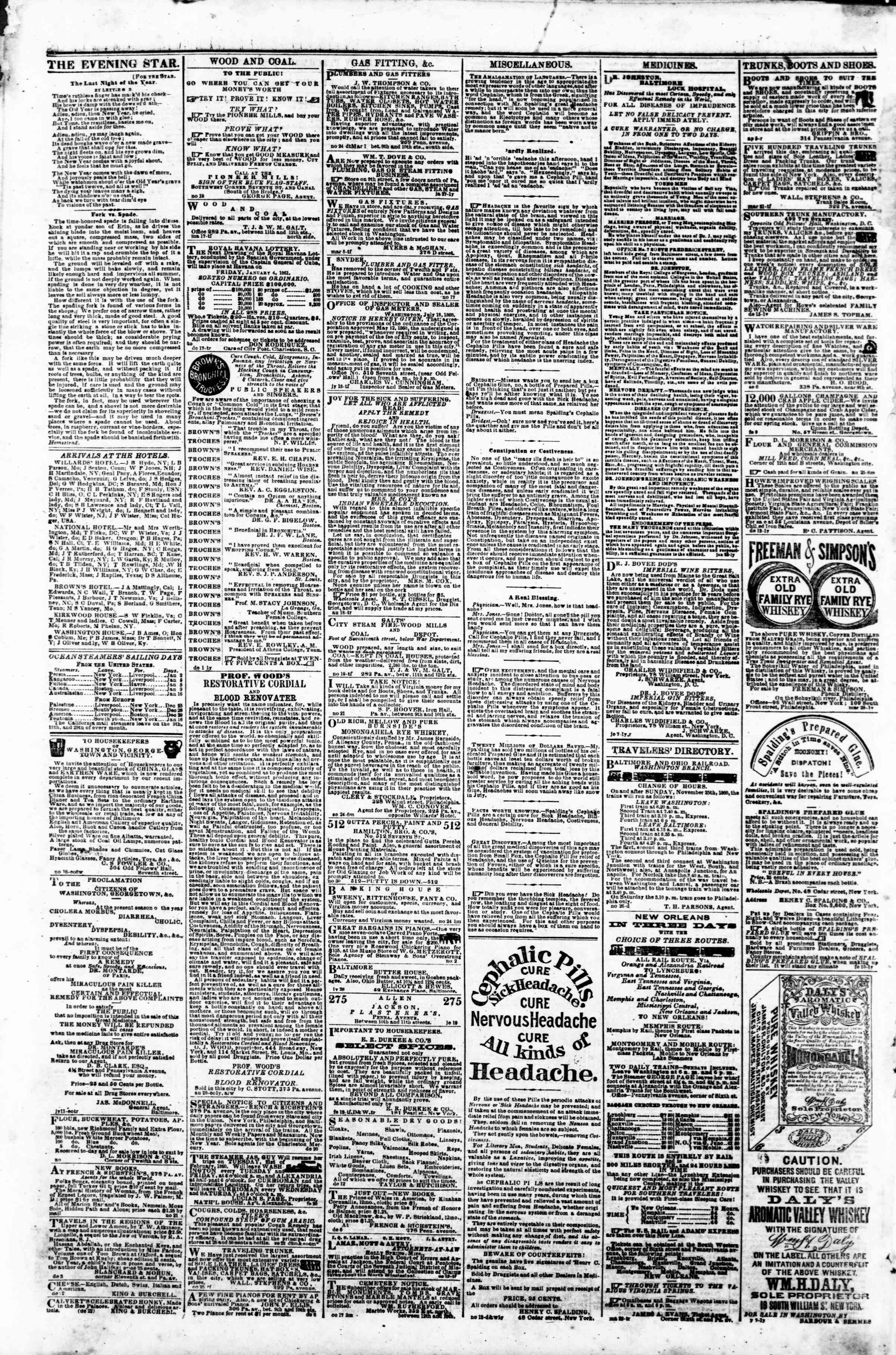 Newspaper of Evening Star dated January 1, 1861 Page 4