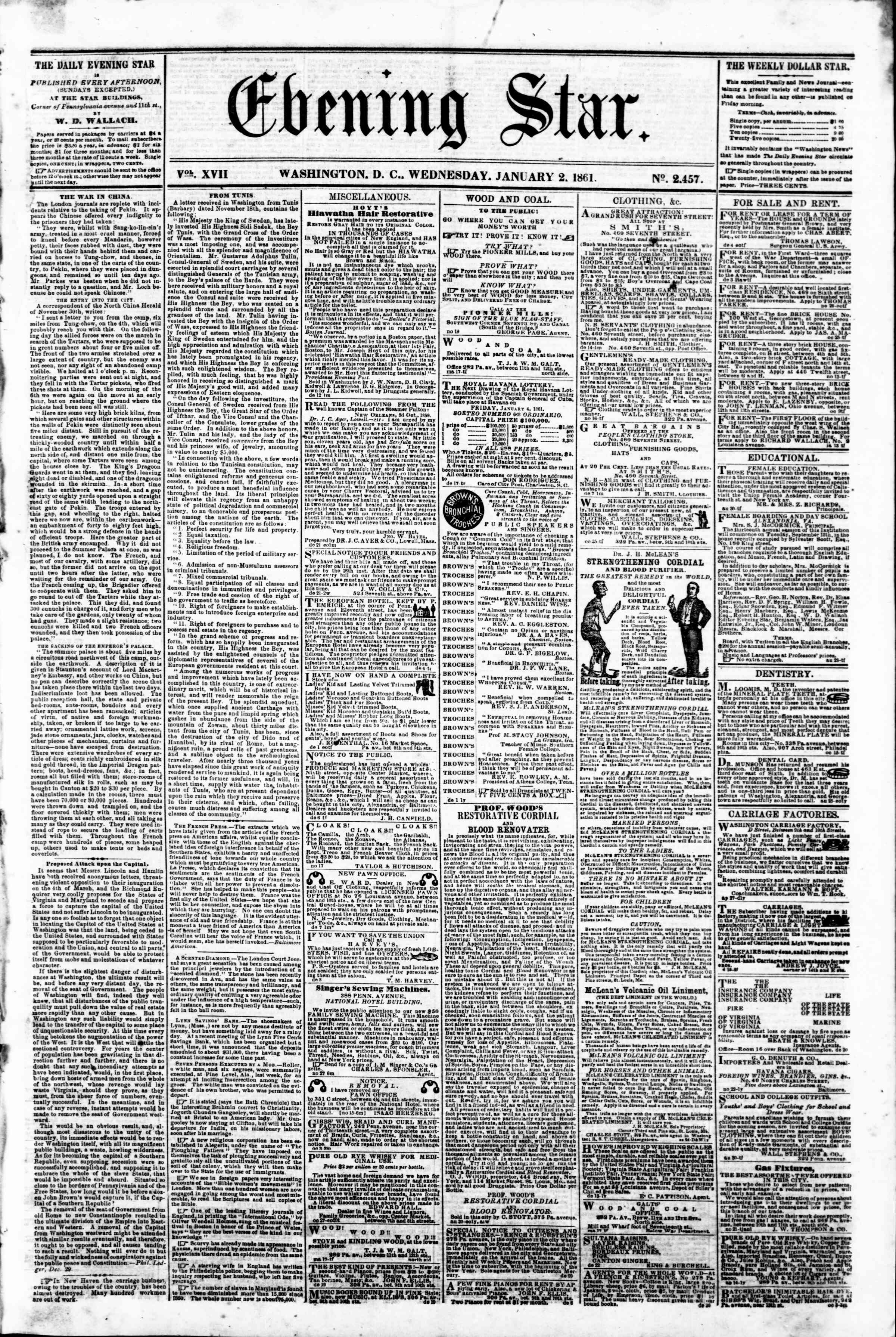 Newspaper of Evening Star dated January 2, 1861 Page 1