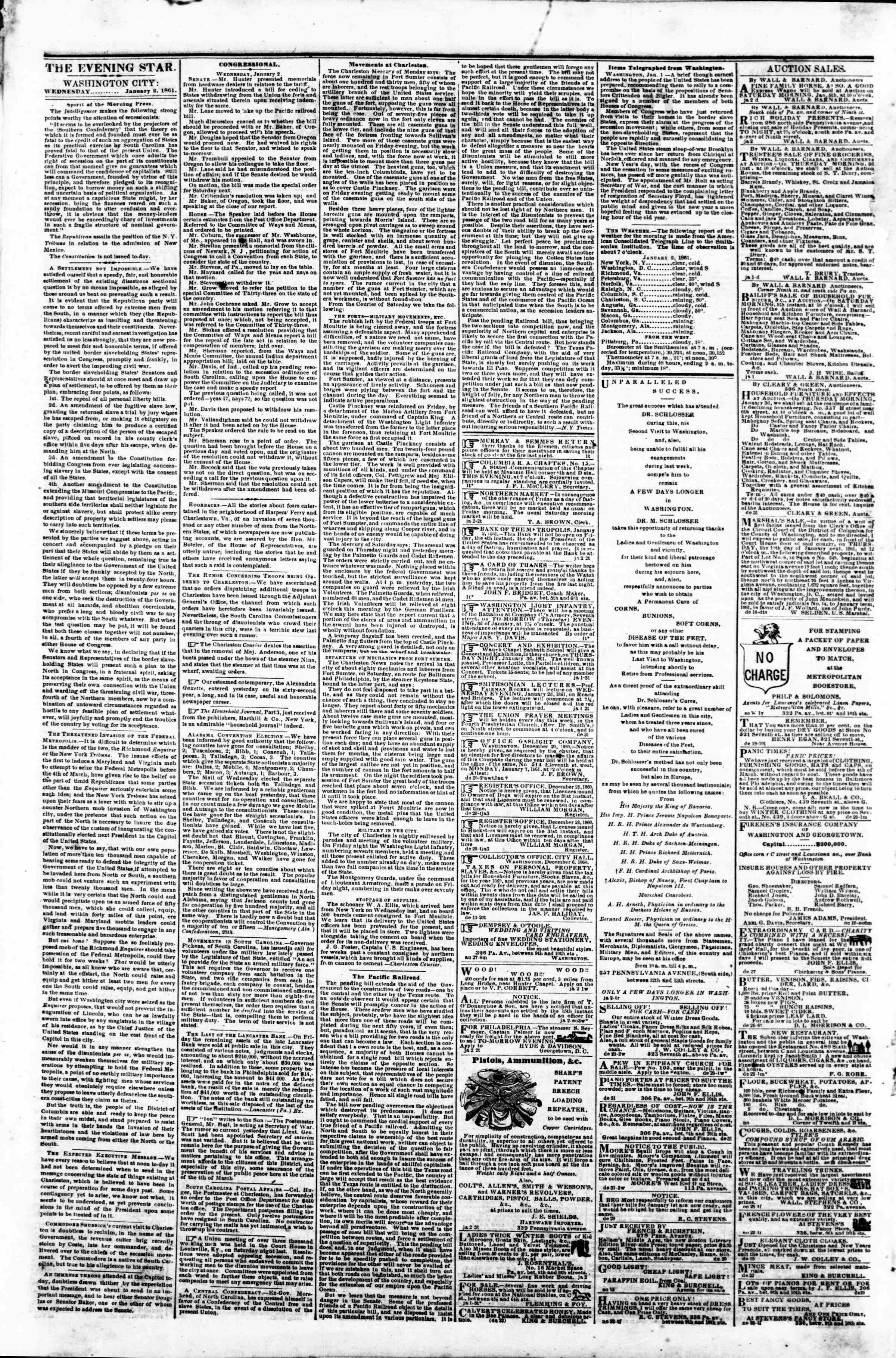 Newspaper of Evening Star dated January 2, 1861 Page 2