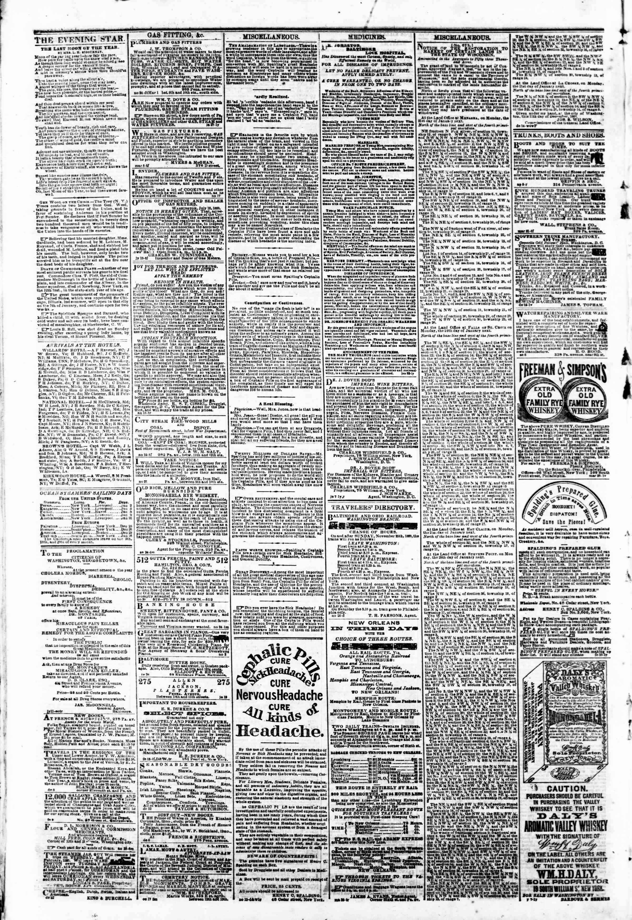 Newspaper of Evening Star dated January 2, 1861 Page 4