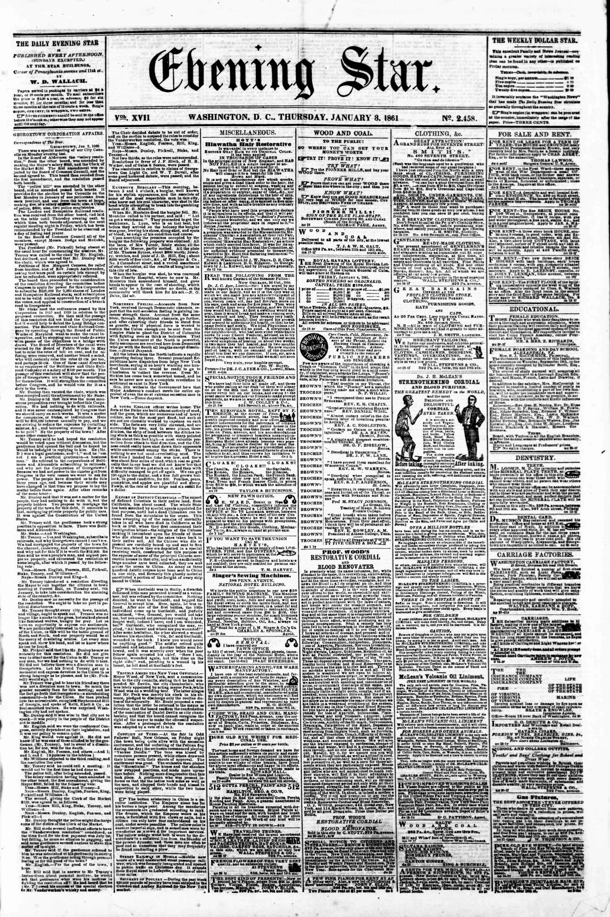 Newspaper of Evening Star dated January 3, 1861 Page 1