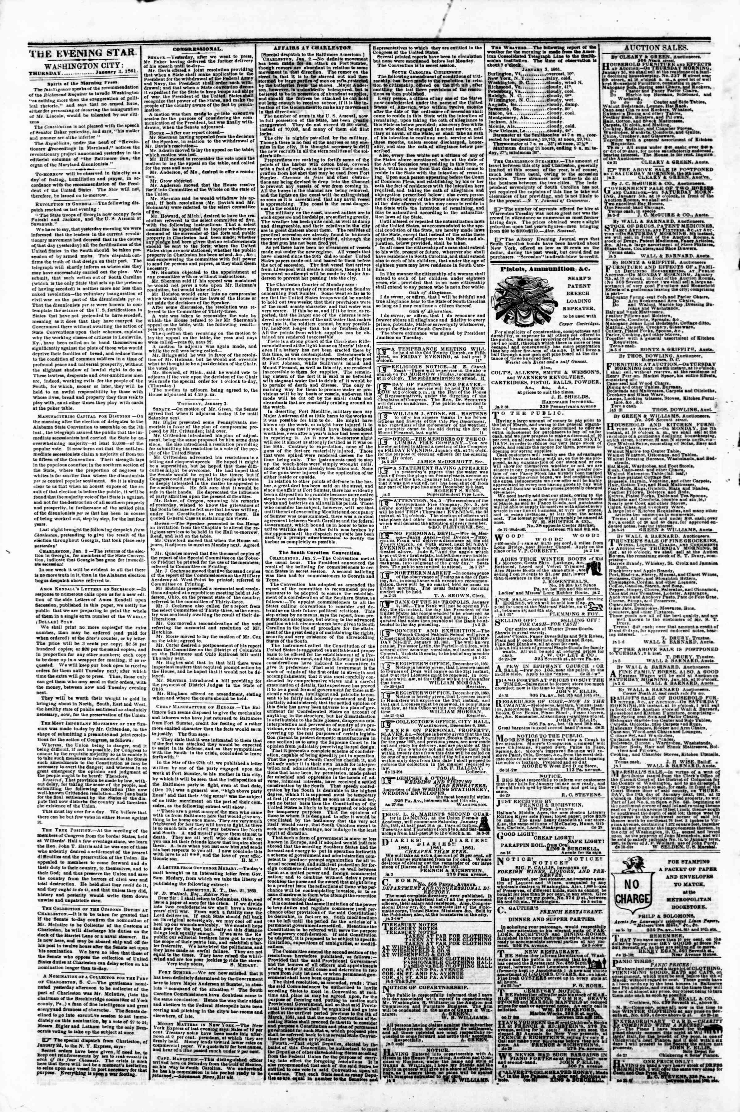 Newspaper of Evening Star dated January 3, 1861 Page 2