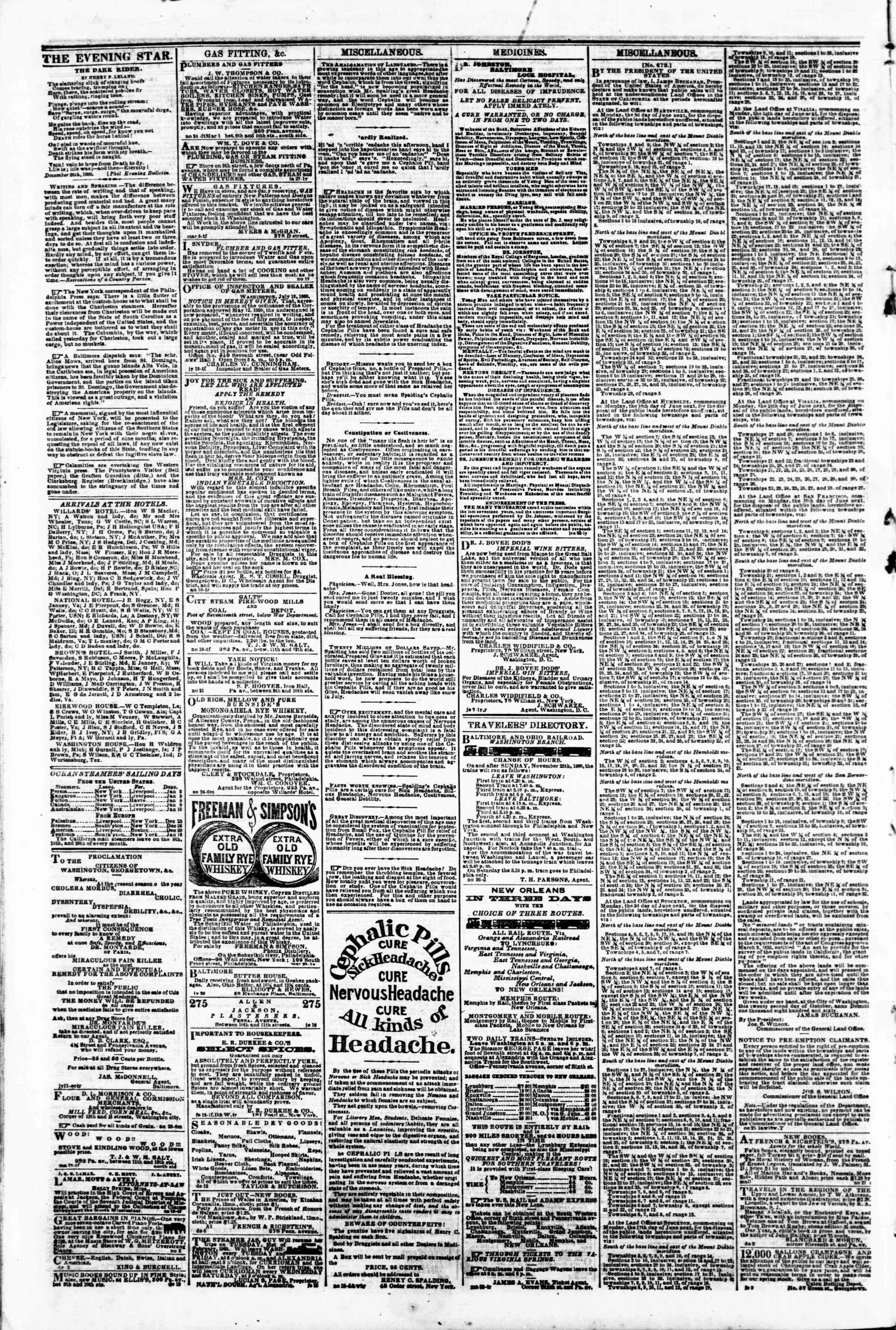 Newspaper of Evening Star dated January 3, 1861 Page 4
