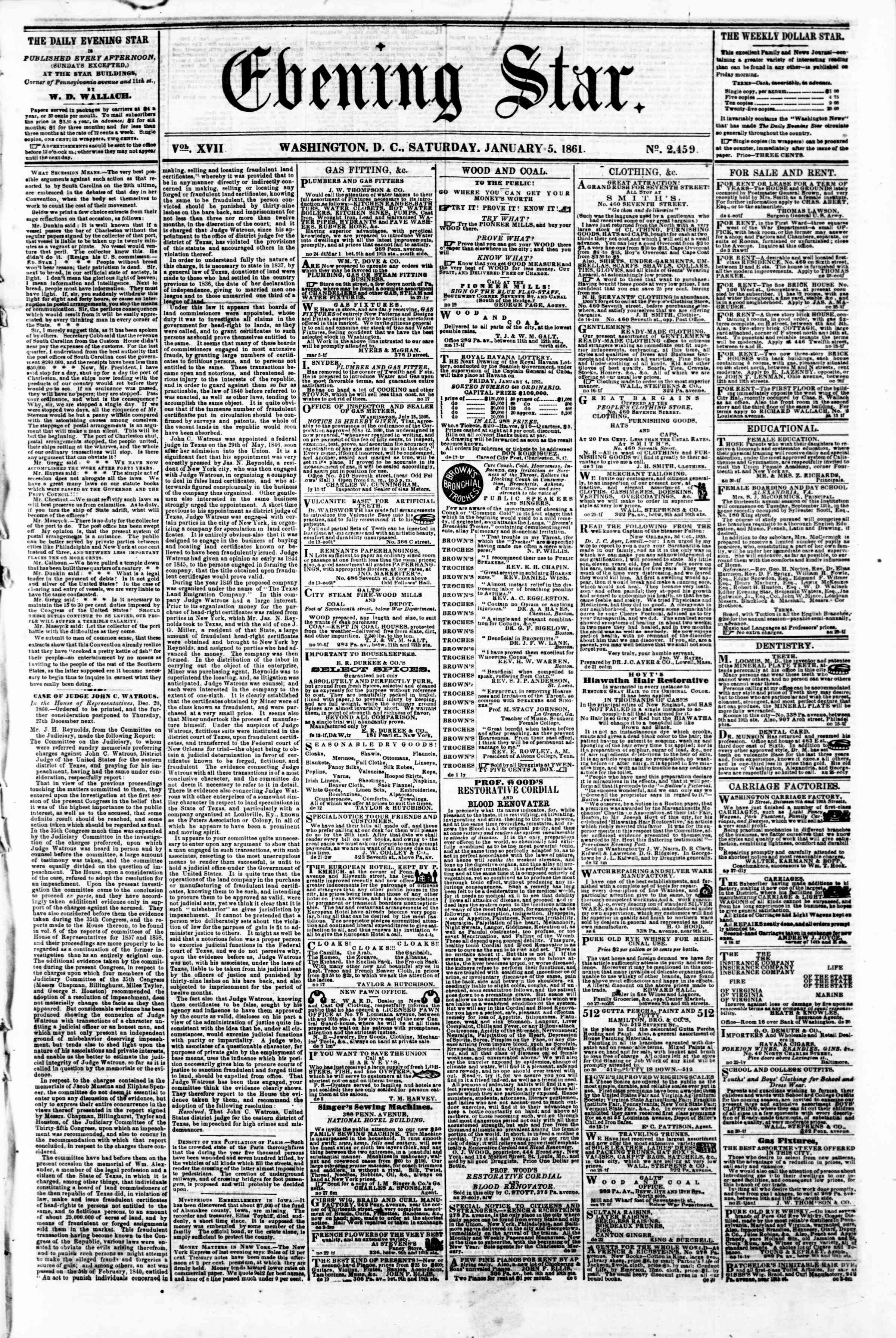 Newspaper of Evening Star dated January 5, 1861 Page 1