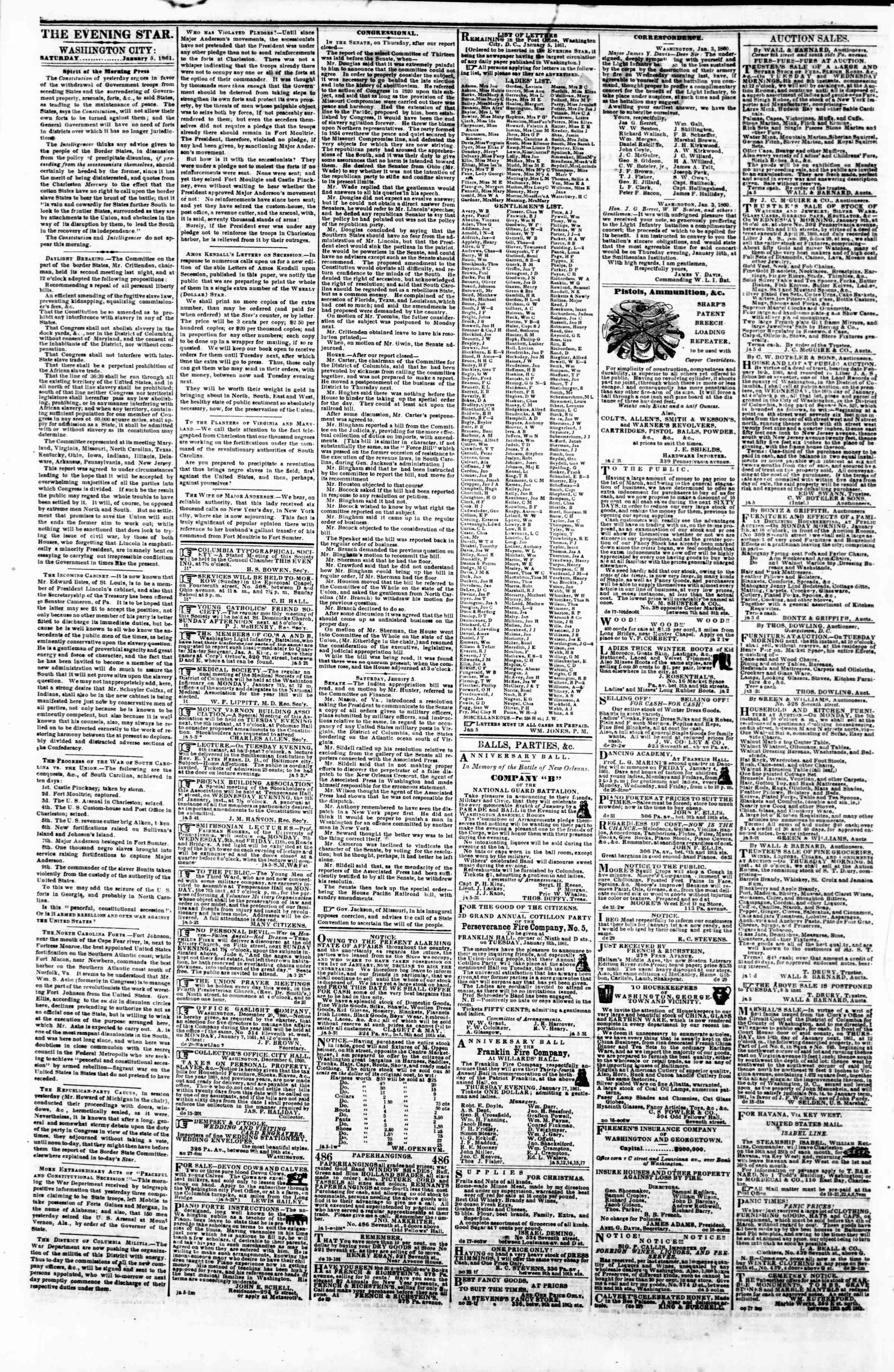 Newspaper of Evening Star dated January 5, 1861 Page 2