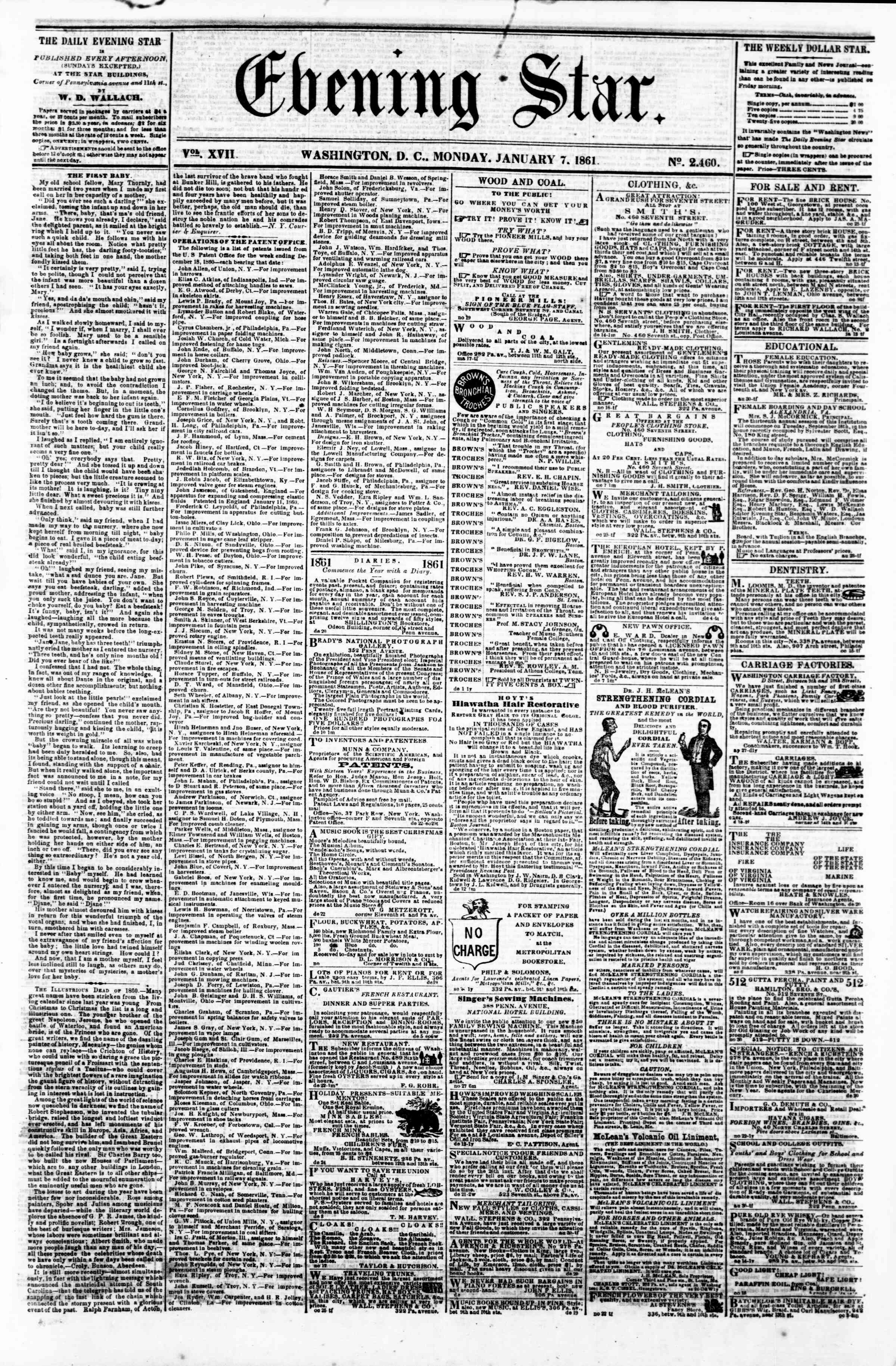 Newspaper of Evening Star dated January 7, 1861 Page 1