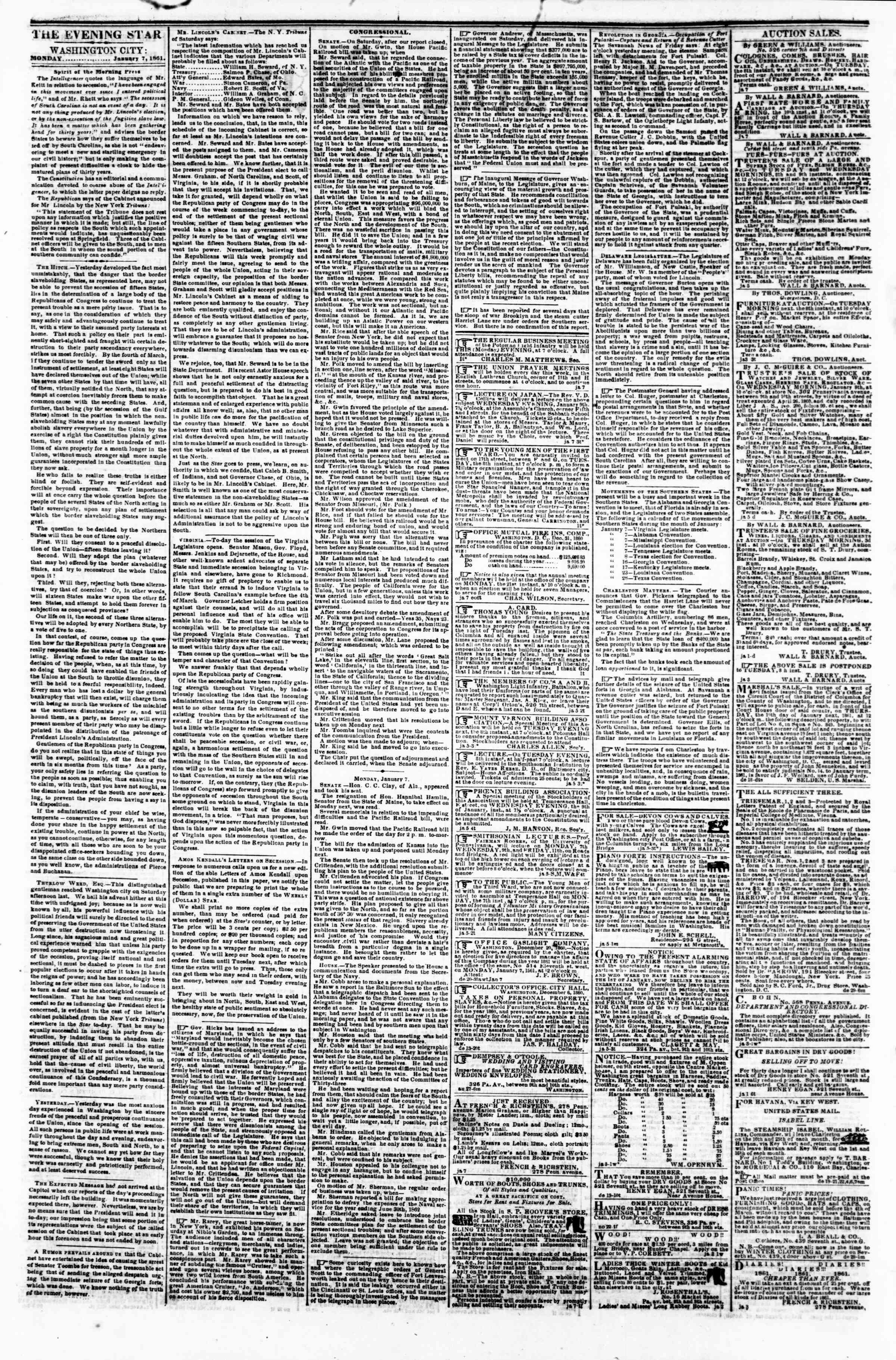 Newspaper of Evening Star dated January 7, 1861 Page 2