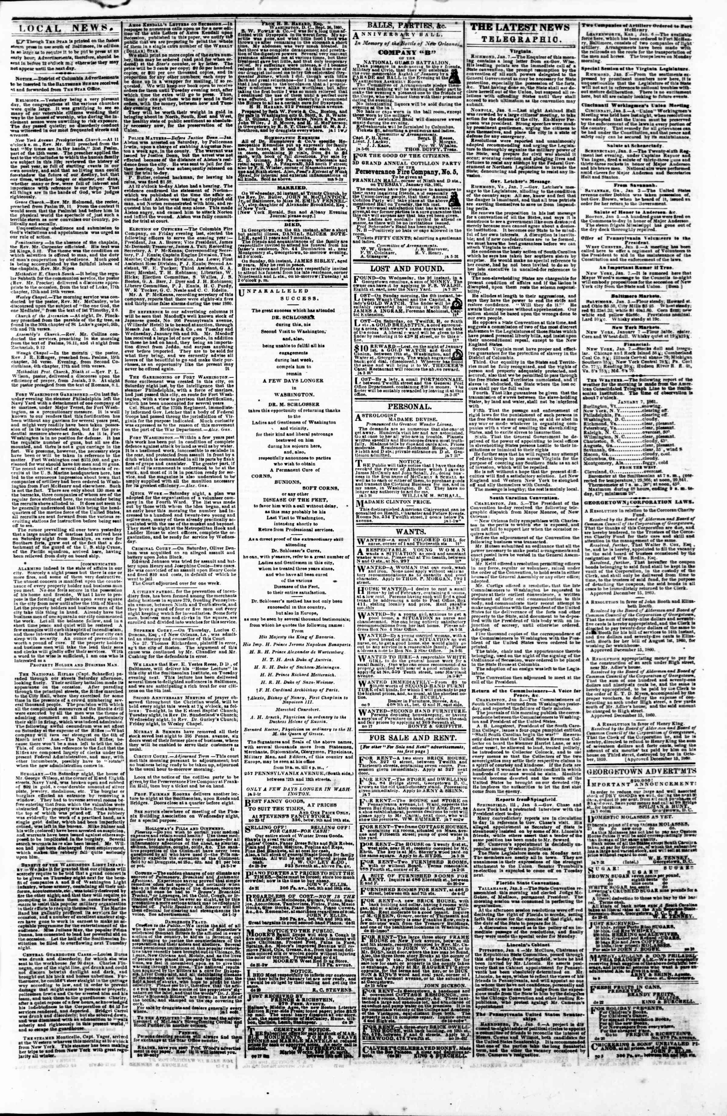 Newspaper of Evening Star dated January 7, 1861 Page 3