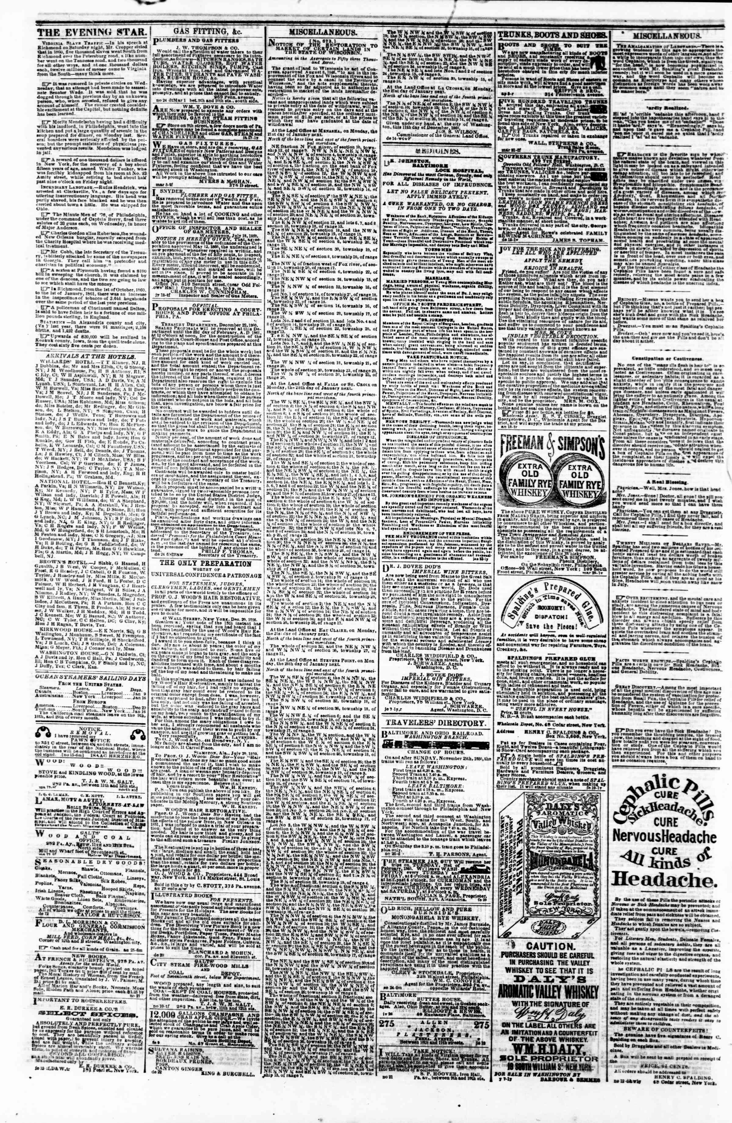 Newspaper of Evening Star dated January 7, 1861 Page 4
