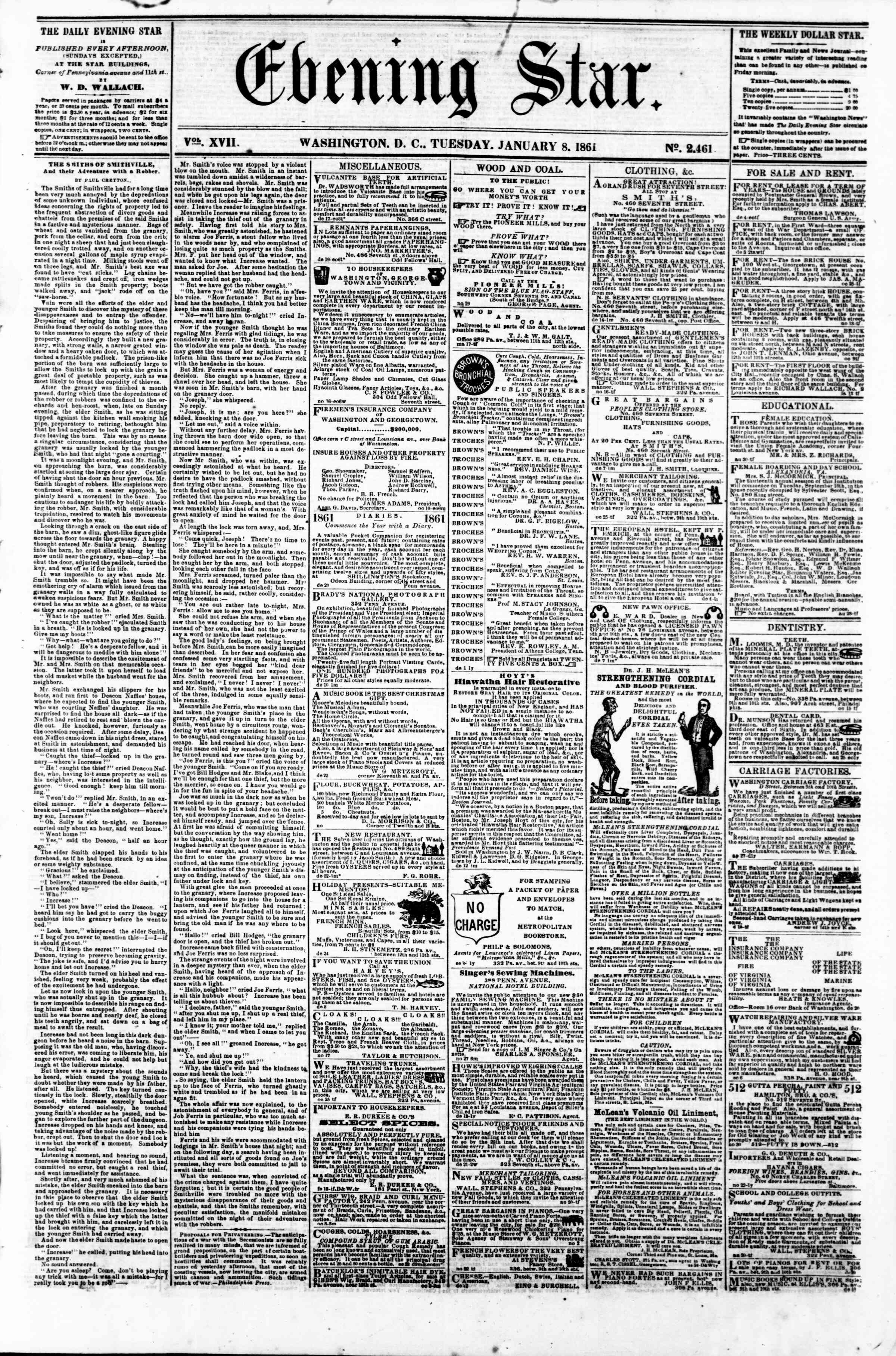 Newspaper of Evening Star dated January 8, 1861 Page 1