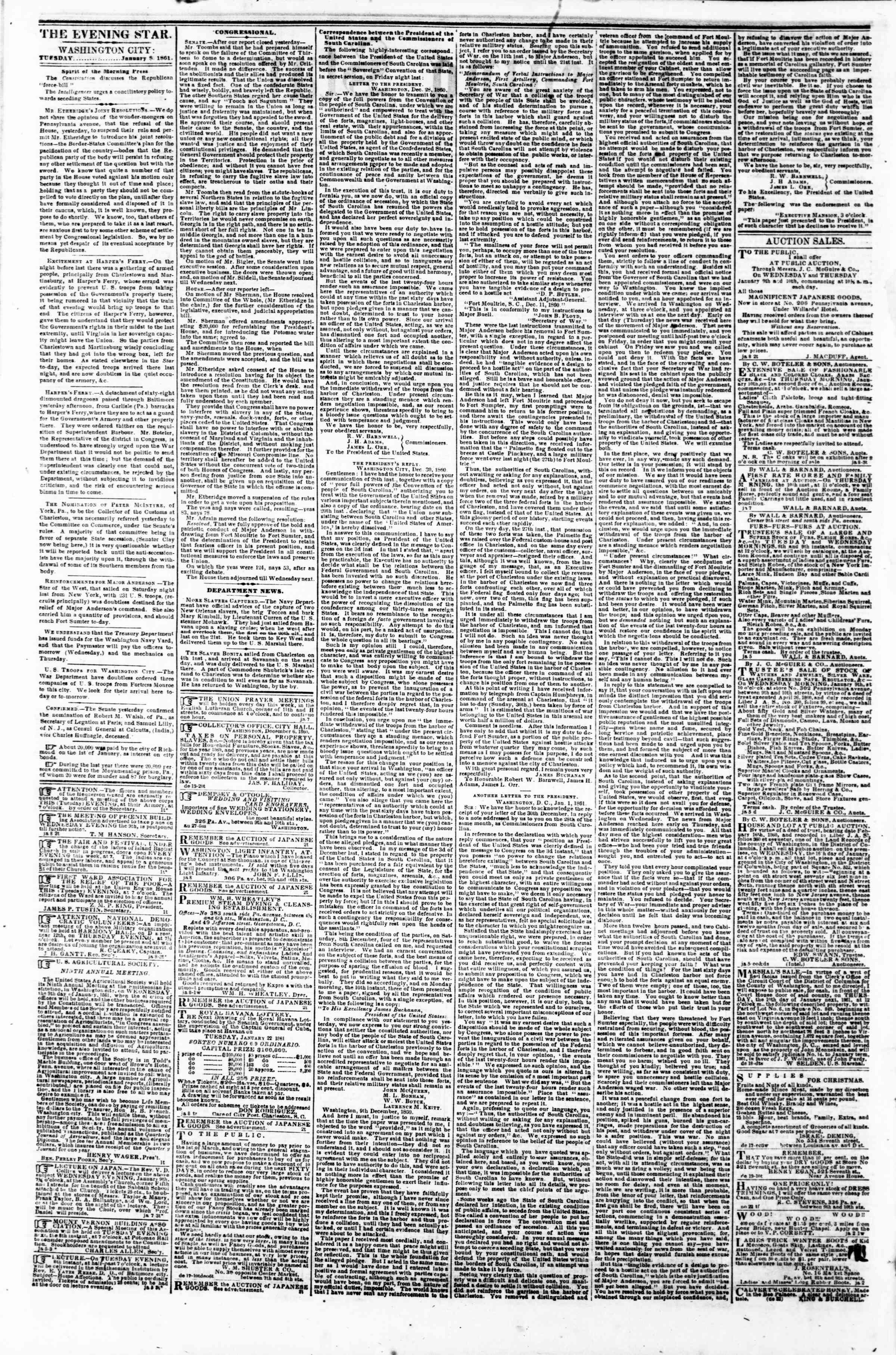 Newspaper of Evening Star dated January 8, 1861 Page 2