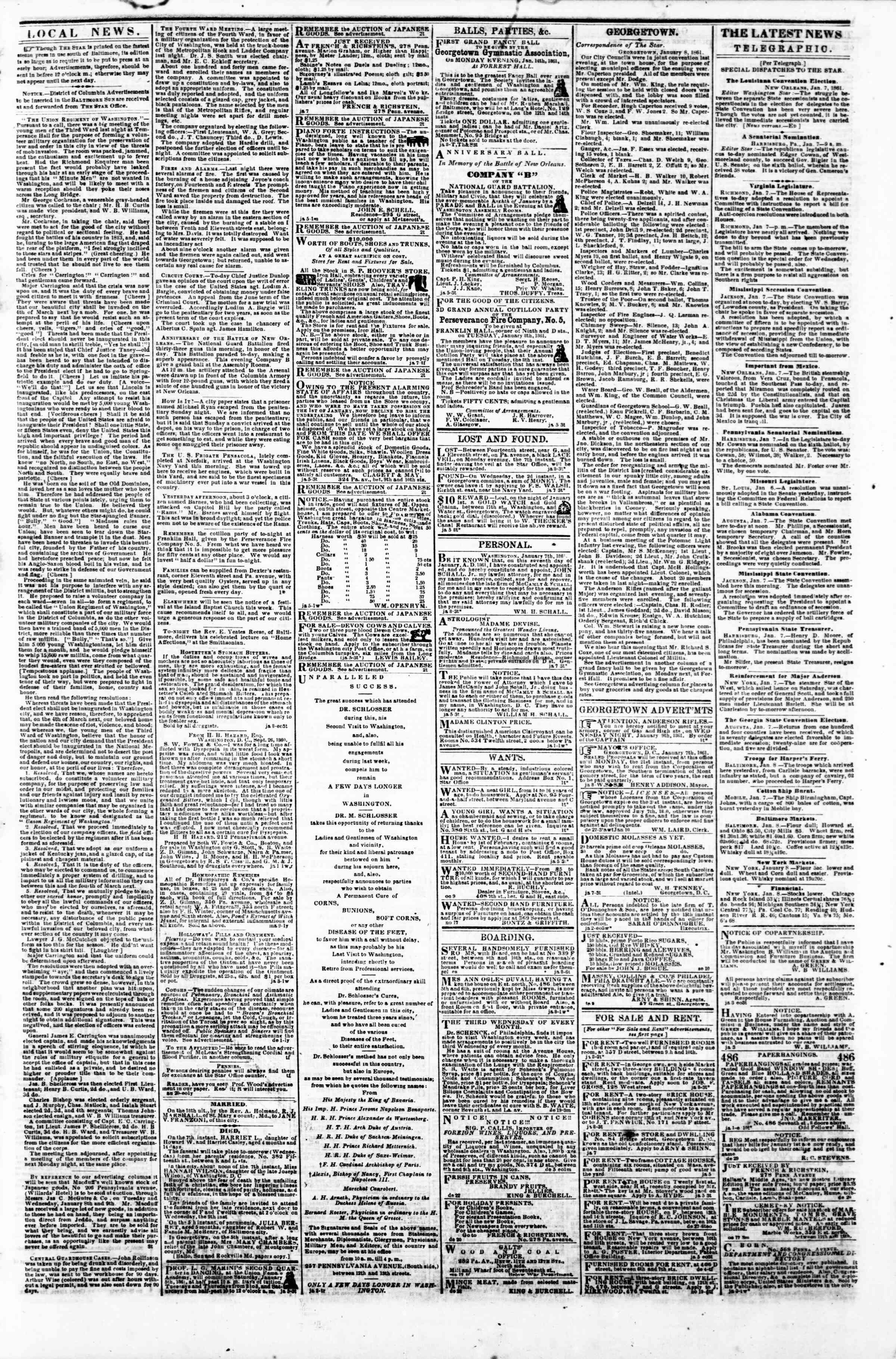 Newspaper of Evening Star dated January 8, 1861 Page 3