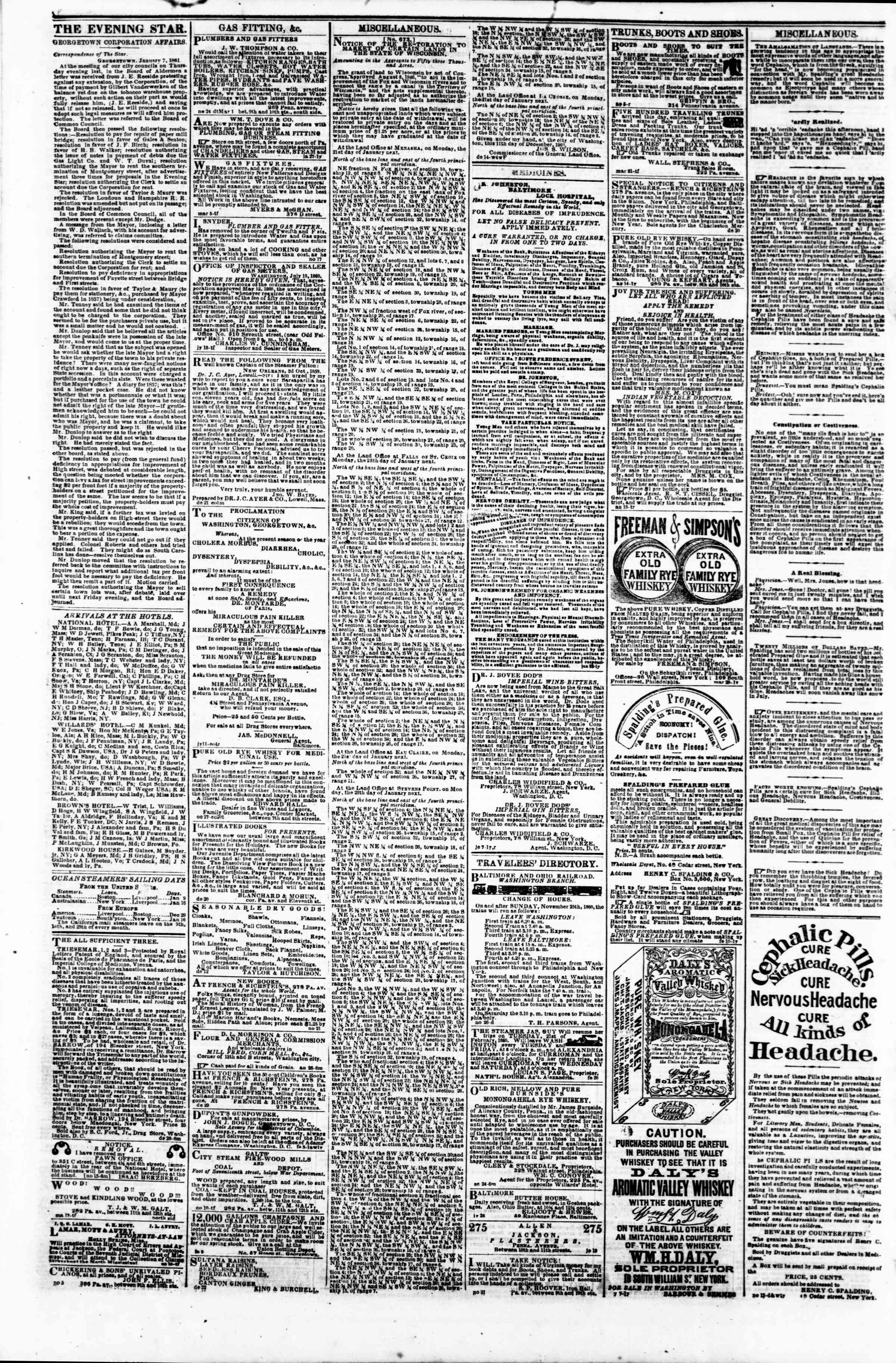 Newspaper of Evening Star dated January 8, 1861 Page 4