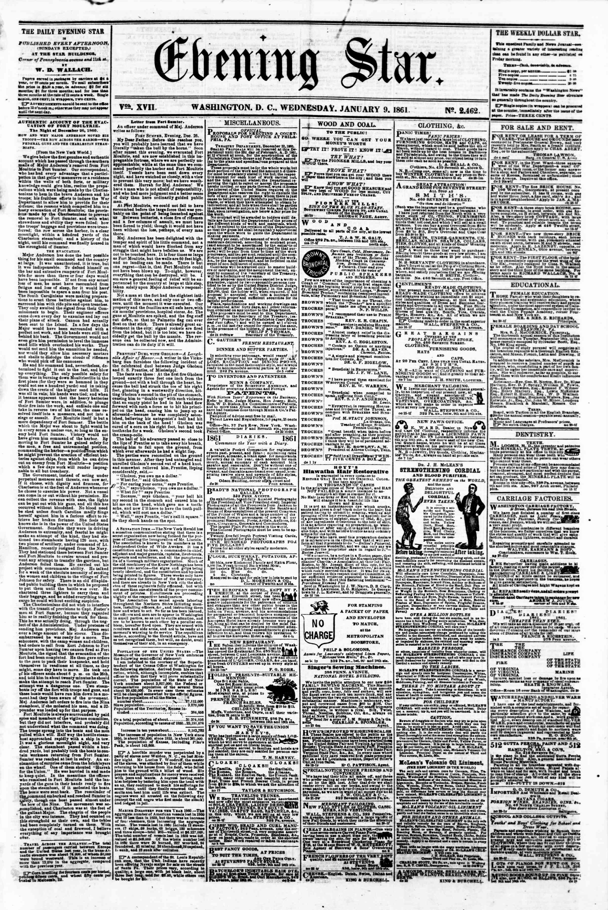 Newspaper of Evening Star dated January 9, 1861 Page 1