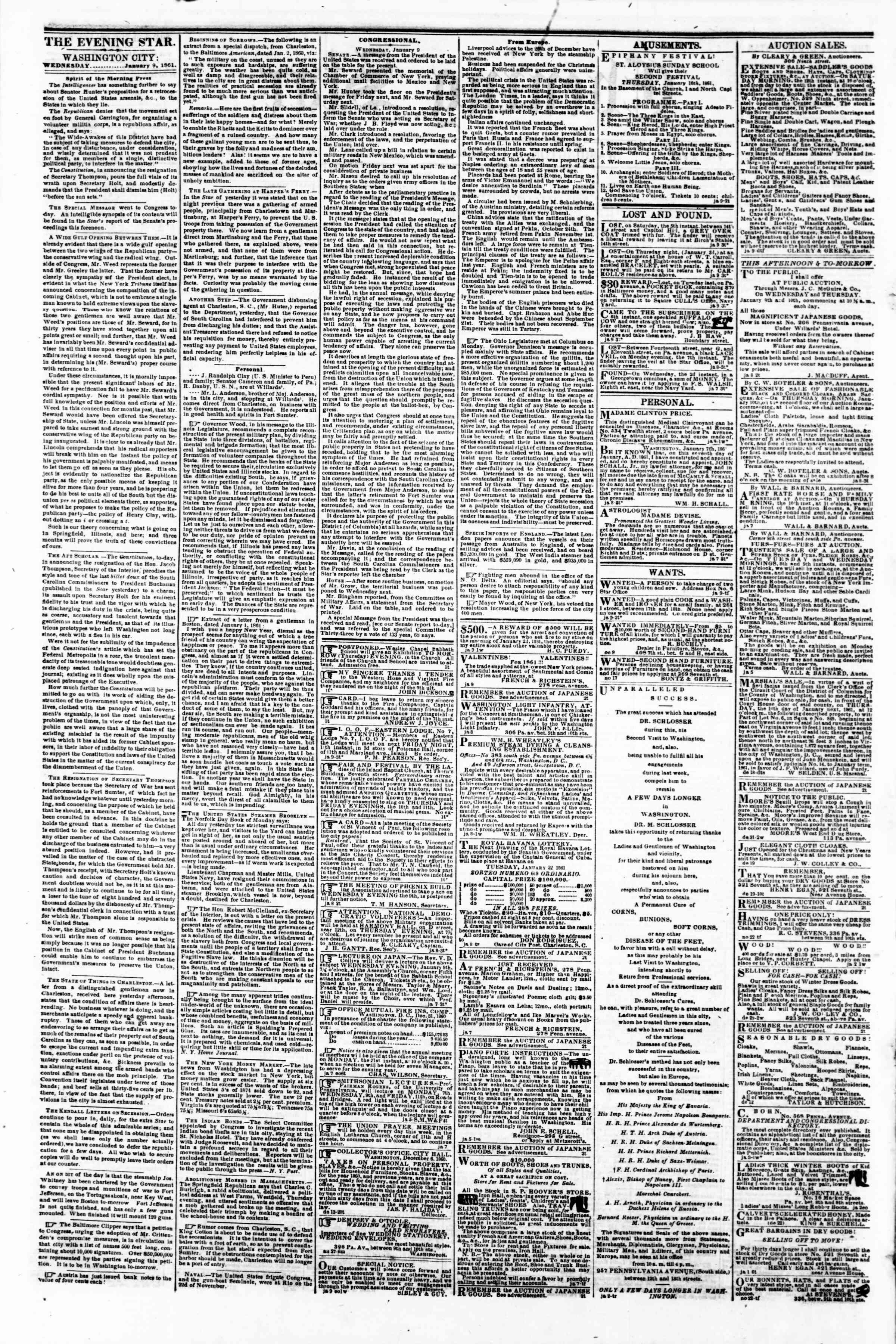Newspaper of Evening Star dated 9 Ocak 1861 Page 2