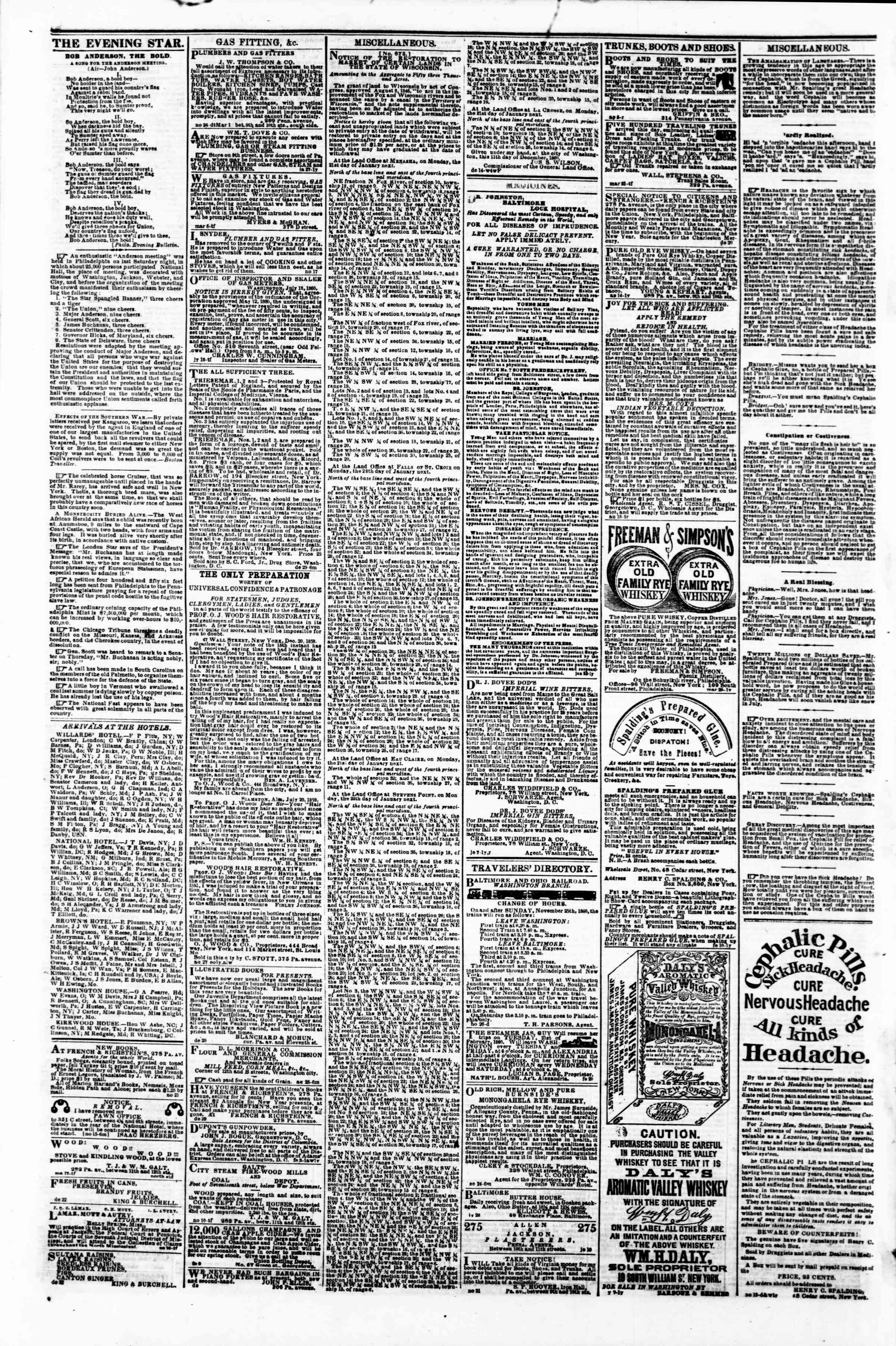 Newspaper of Evening Star dated January 9, 1861 Page 4