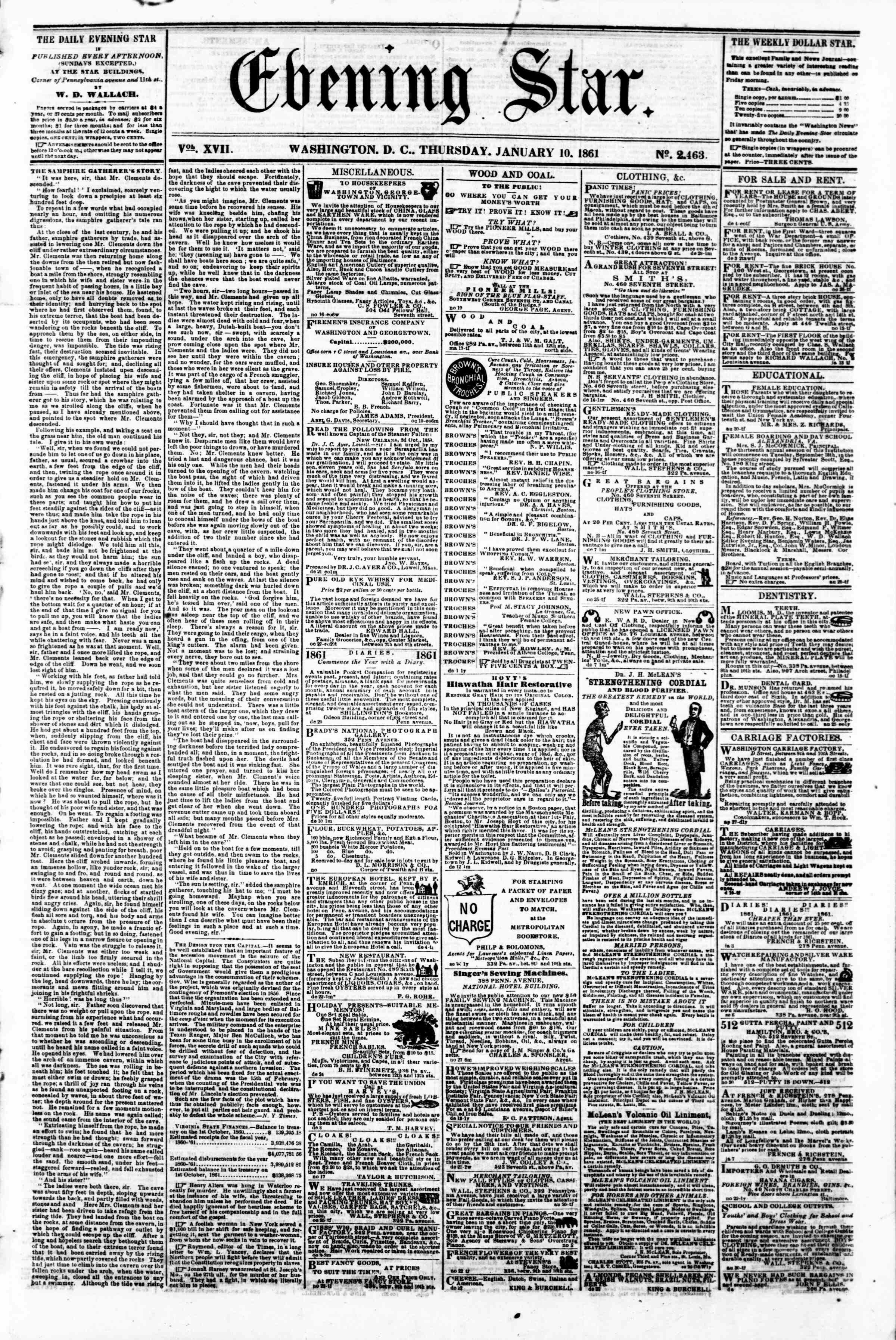 Newspaper of Evening Star dated January 10, 1861 Page 1