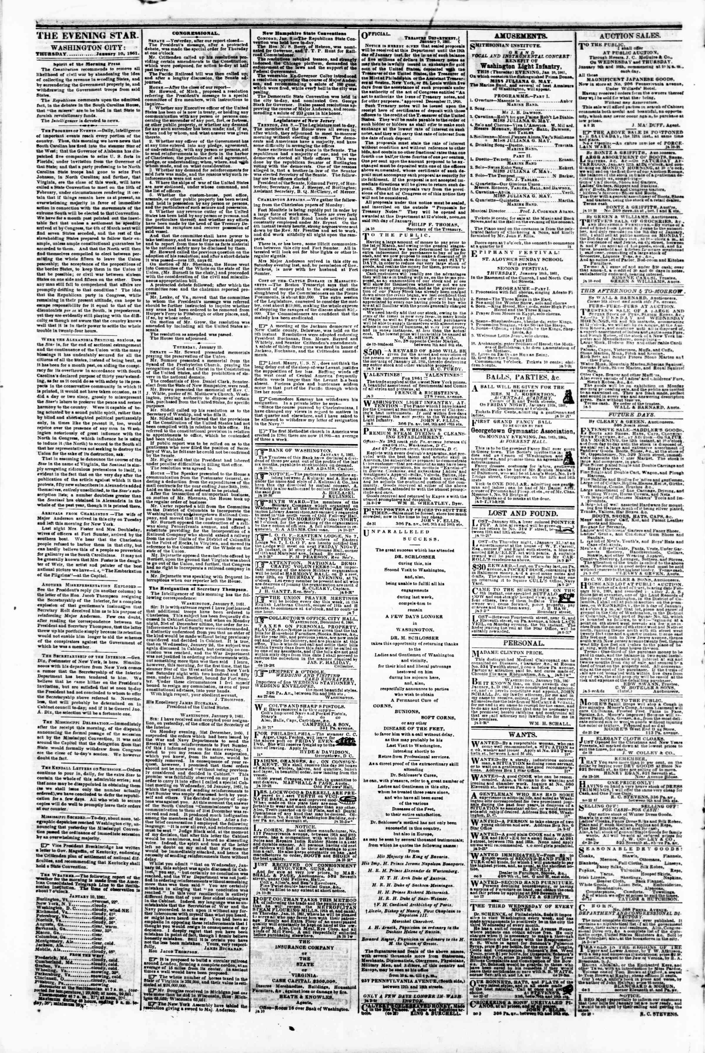 Newspaper of Evening Star dated January 10, 1861 Page 2