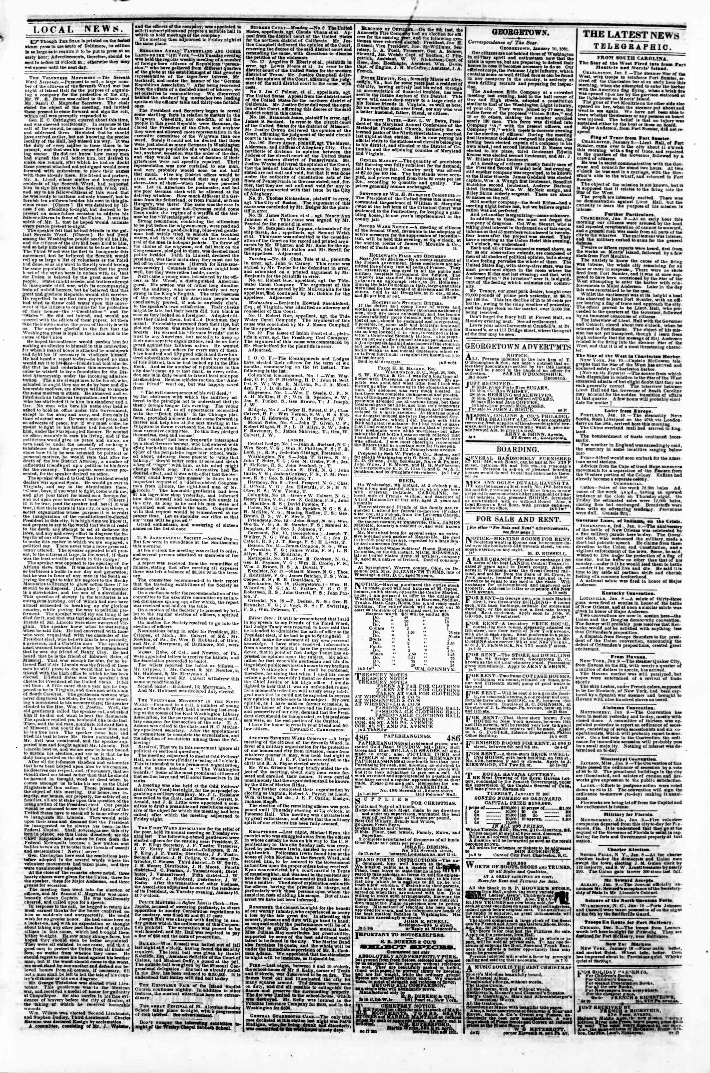Newspaper of Evening Star dated January 10, 1861 Page 3