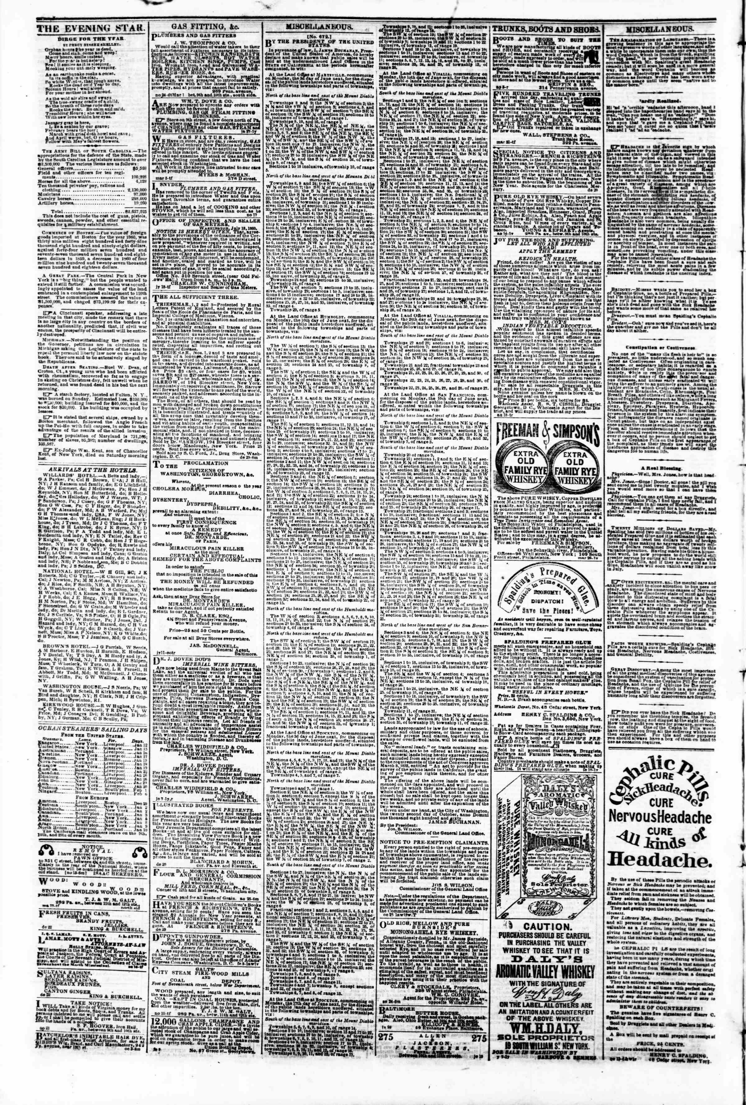 Newspaper of Evening Star dated January 10, 1861 Page 4