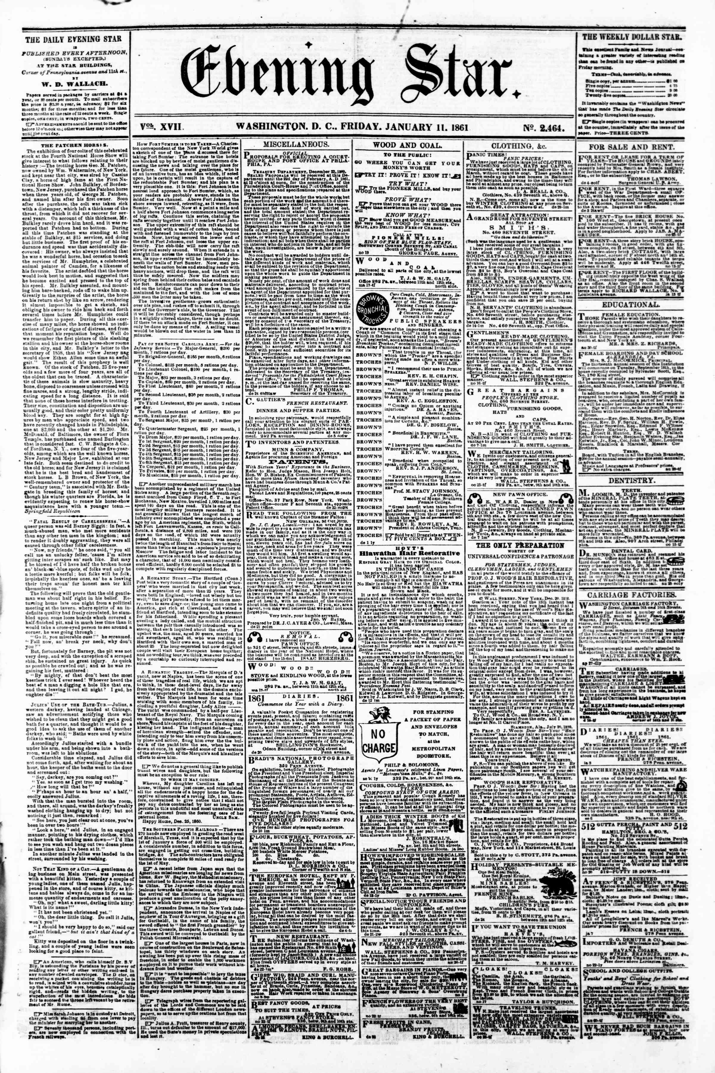 Newspaper of Evening Star dated January 11, 1861 Page 1