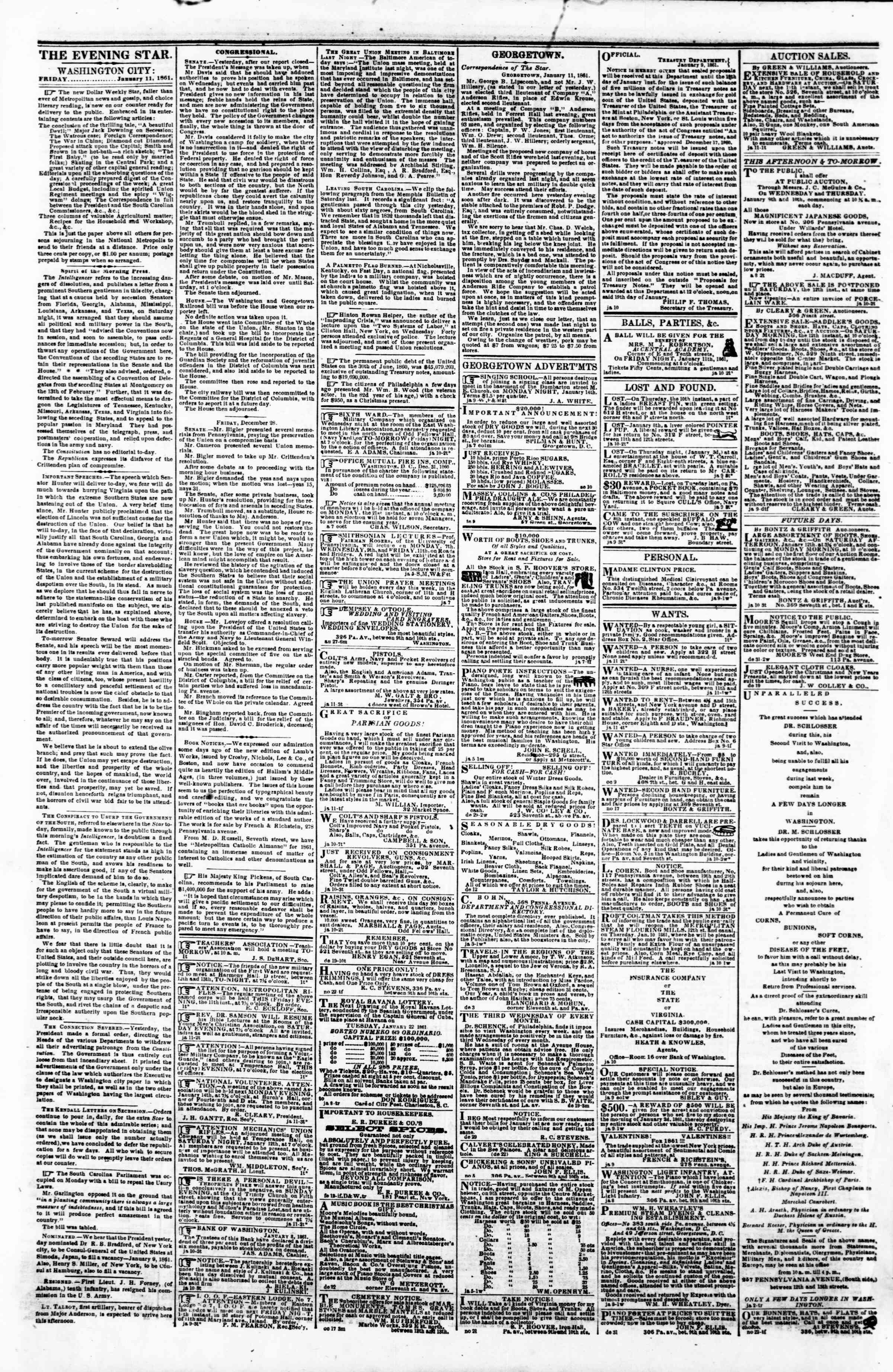 Newspaper of Evening Star dated January 11, 1861 Page 2