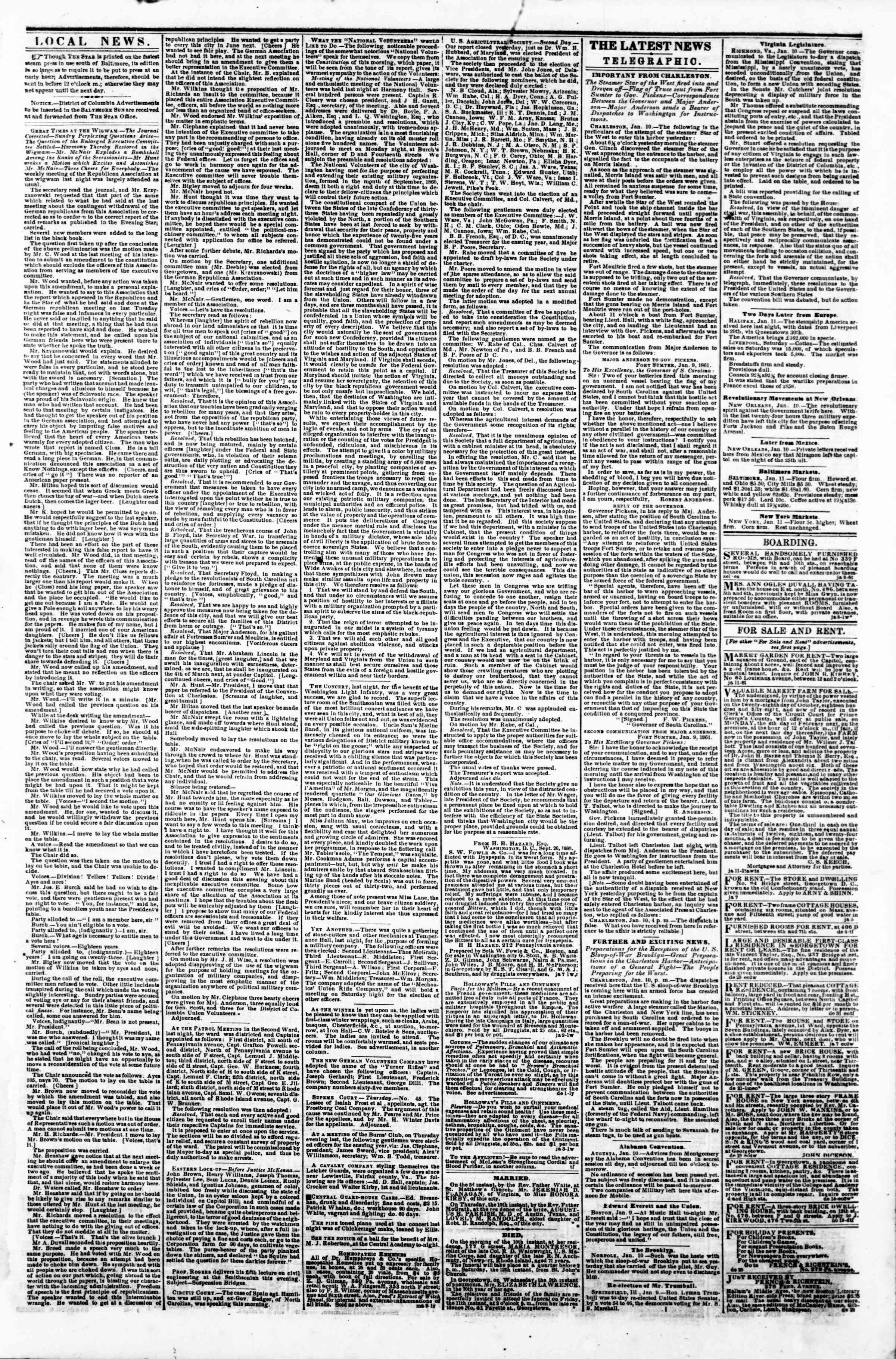 Newspaper of Evening Star dated January 11, 1861 Page 3