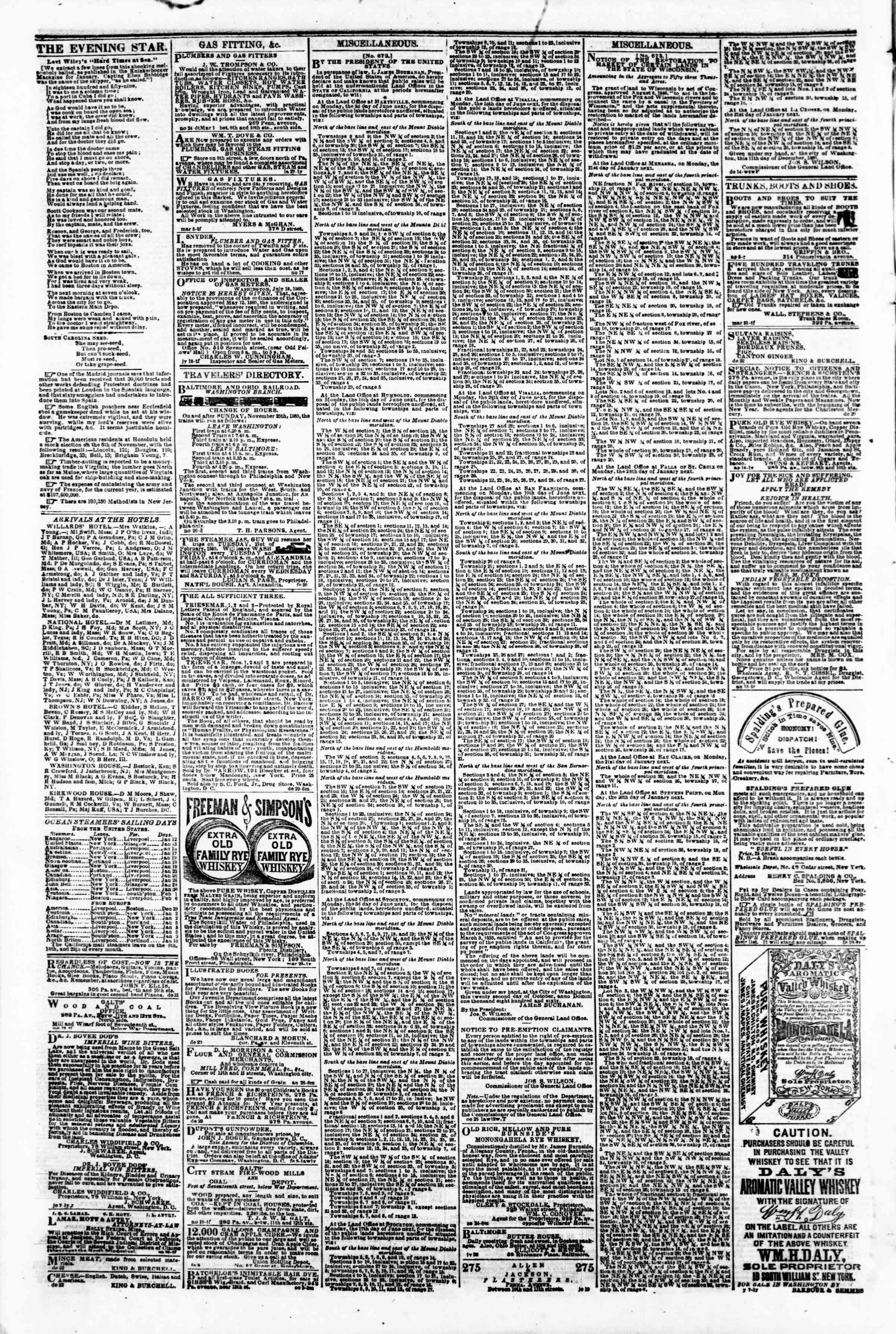 Newspaper of Evening Star dated January 11, 1861 Page 4