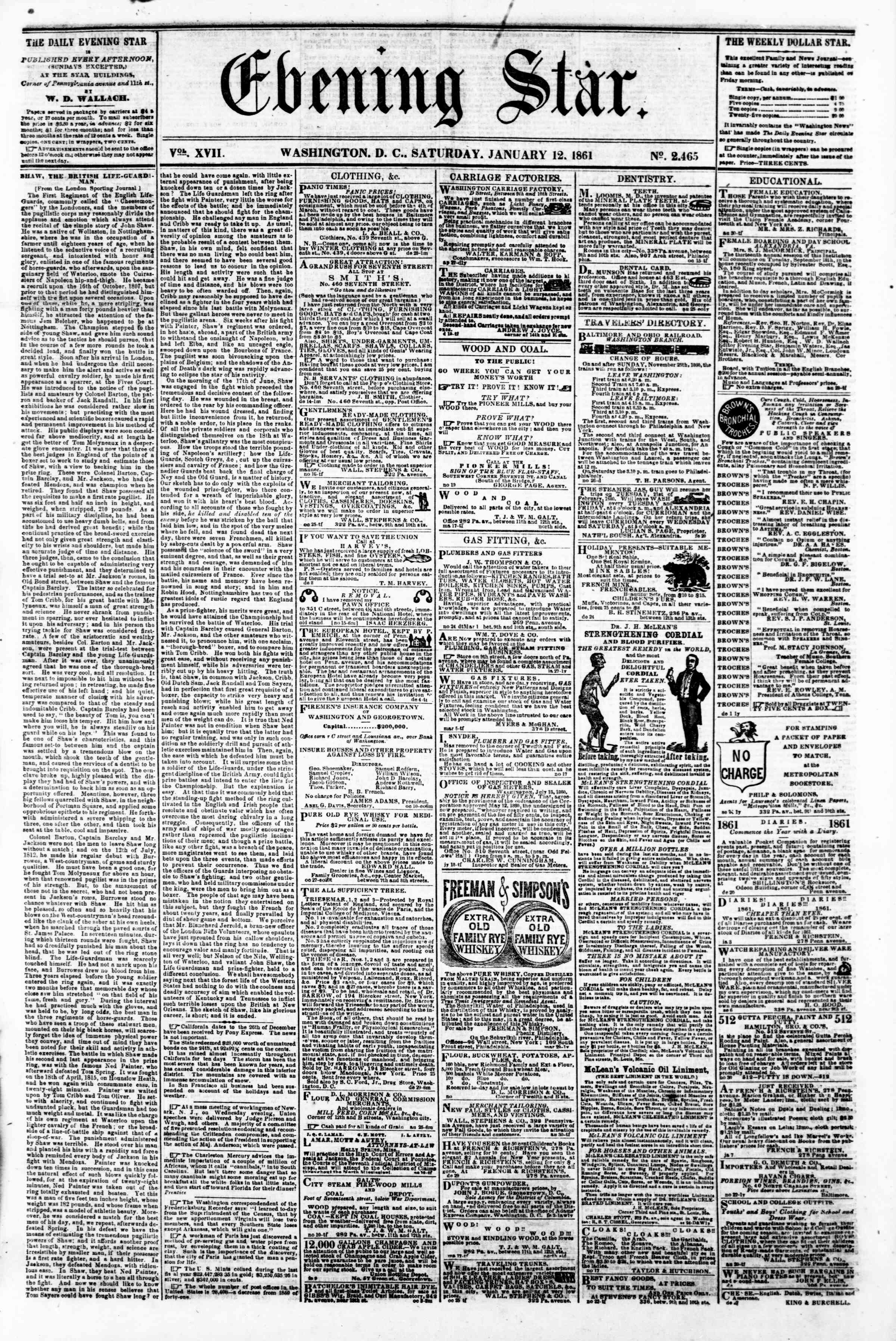Newspaper of Evening Star dated January 12, 1861 Page 1