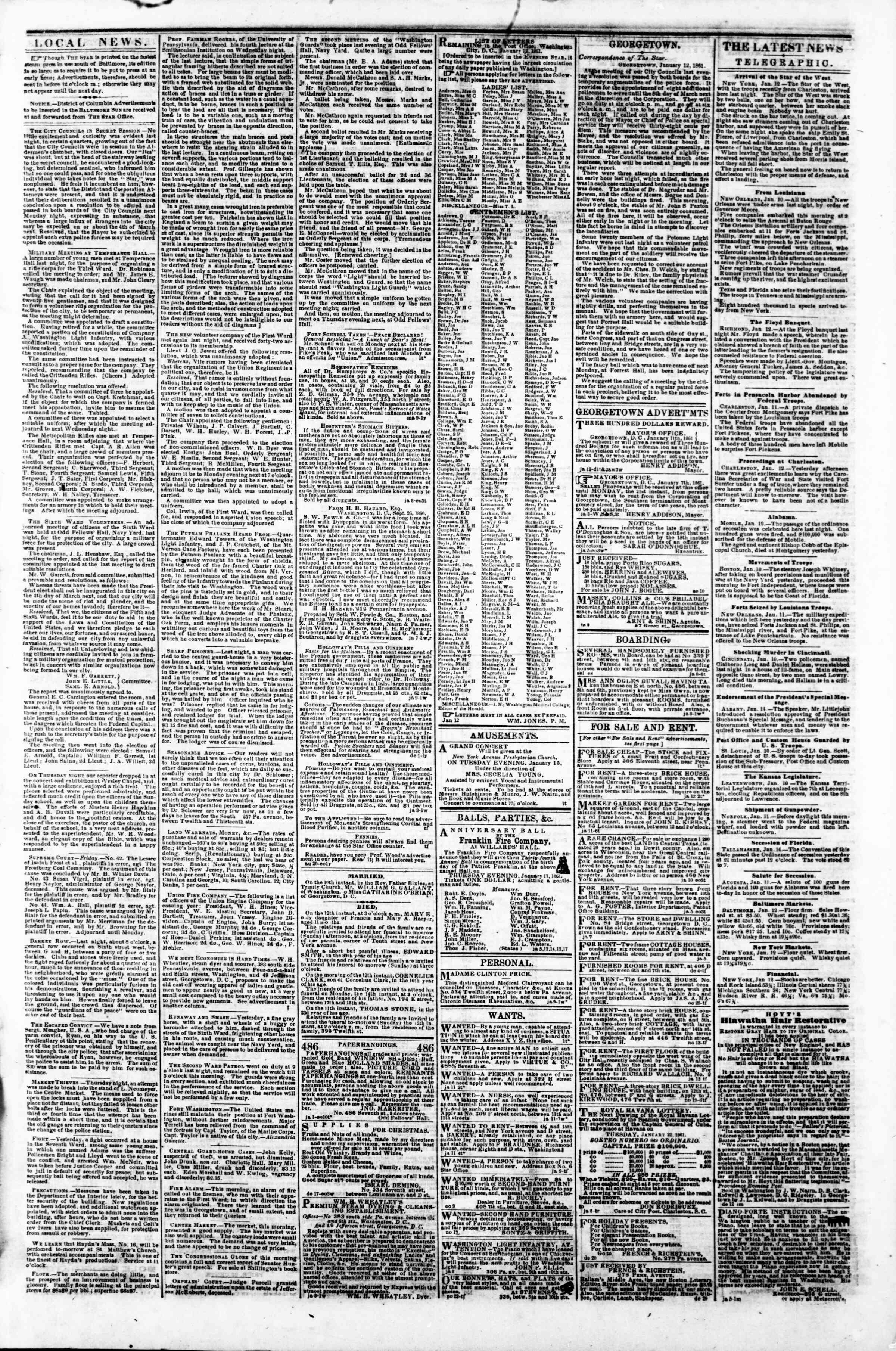 Newspaper of Evening Star dated January 12, 1861 Page 3