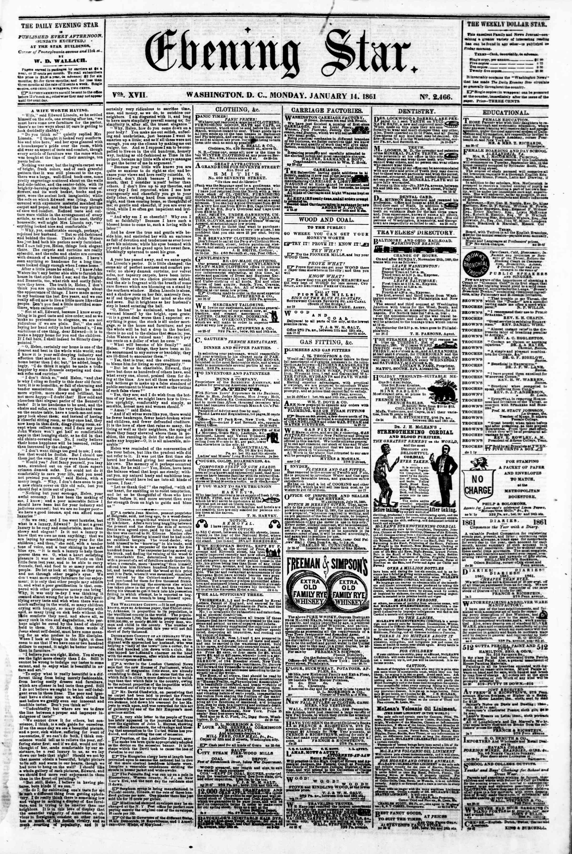 Newspaper of Evening Star dated January 14, 1861 Page 1