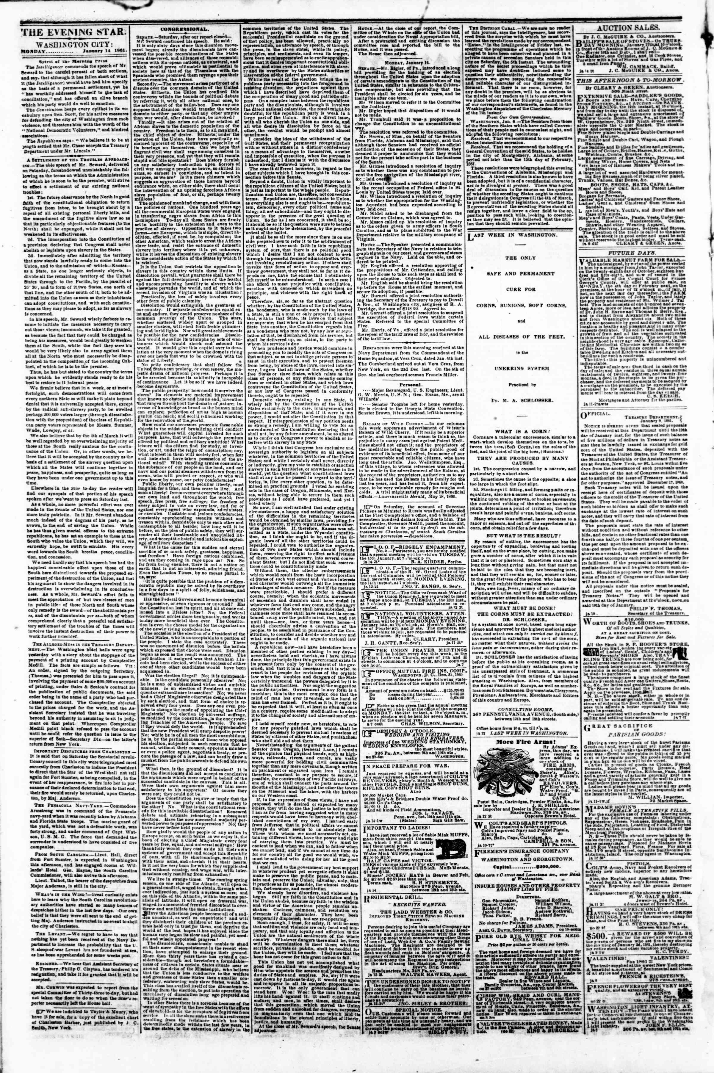 Newspaper of Evening Star dated January 14, 1861 Page 2