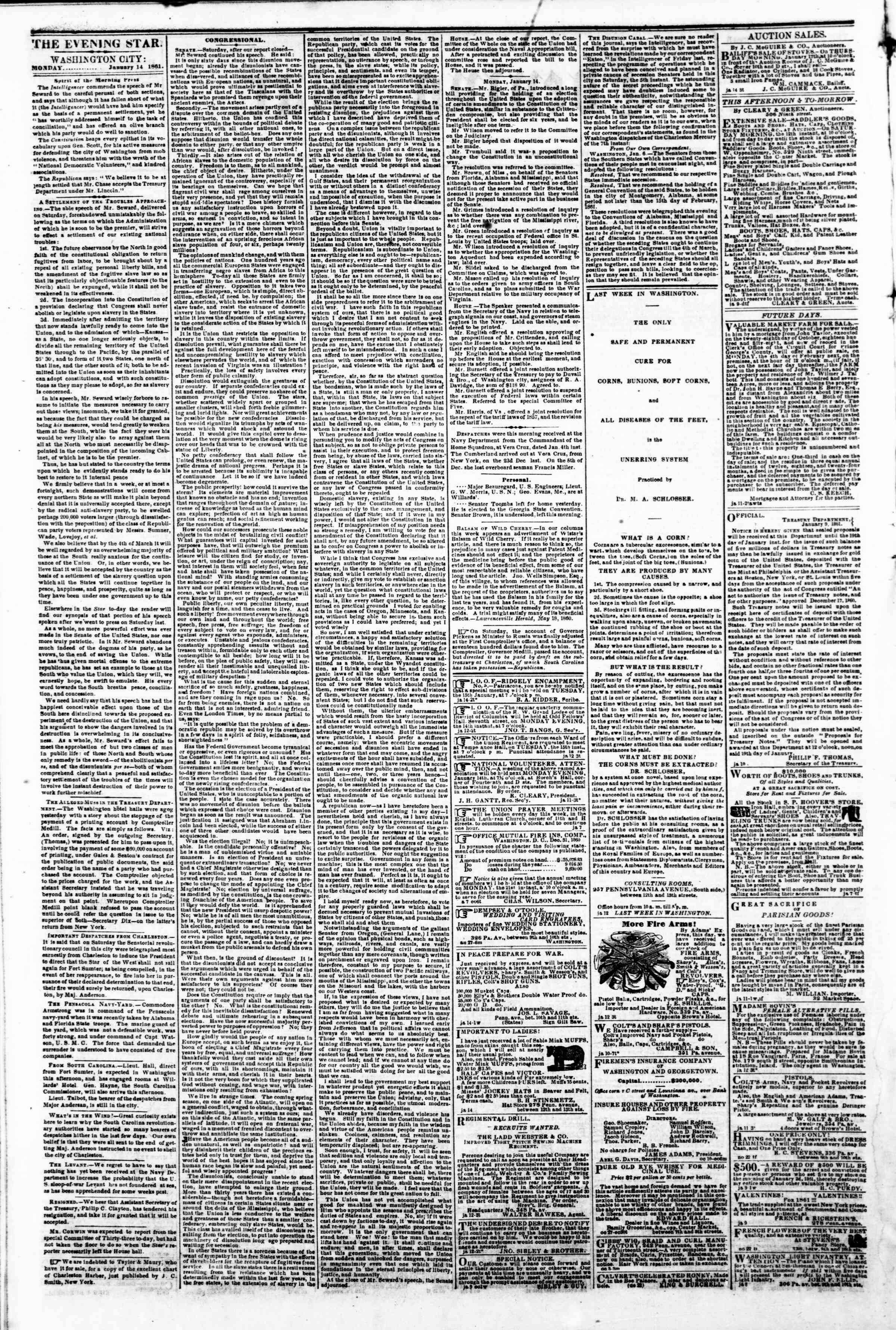 Newspaper of Evening Star dated January 14, 1861 Page 3